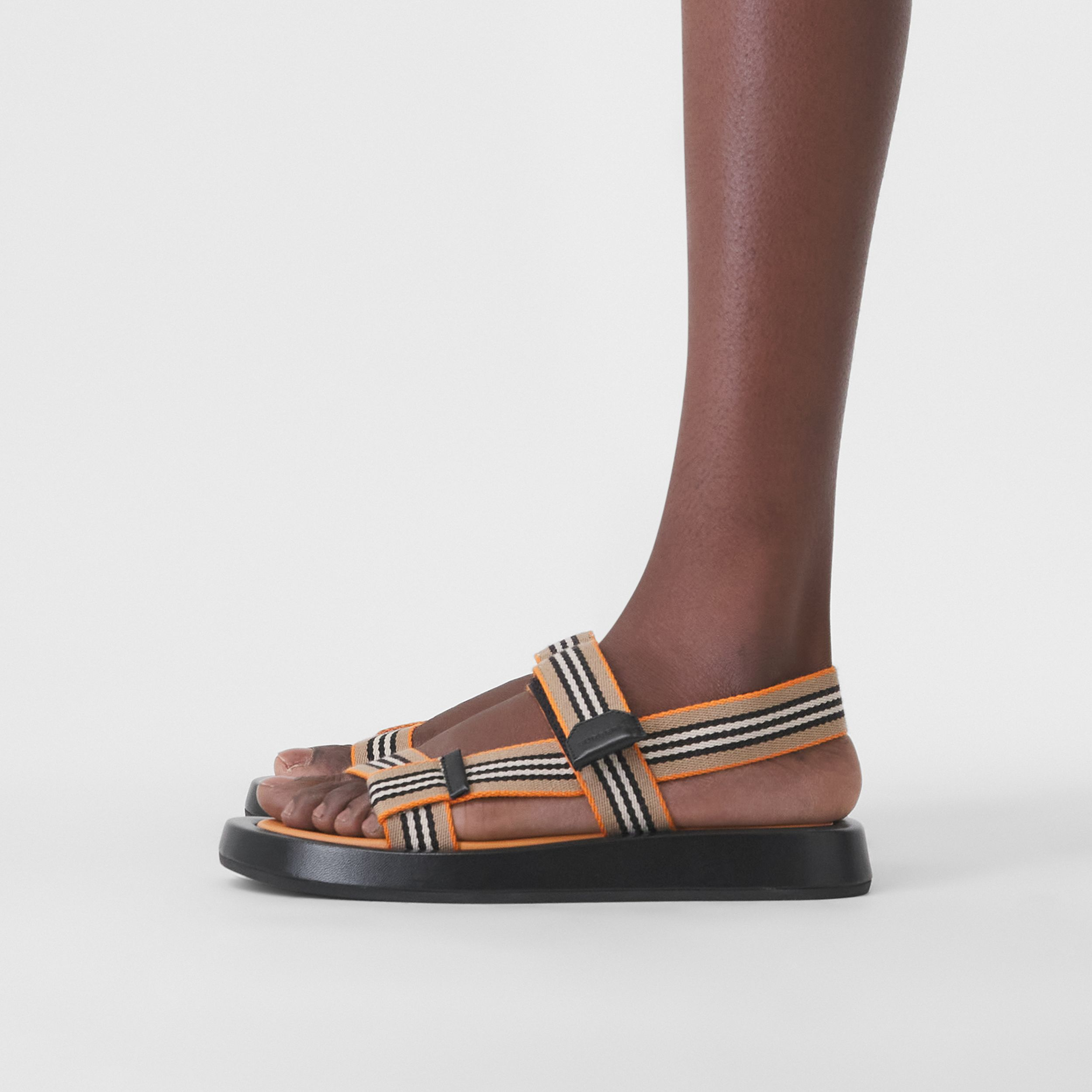 Icon Stripe Sandals in Deep Orange - Women | Burberry - 3