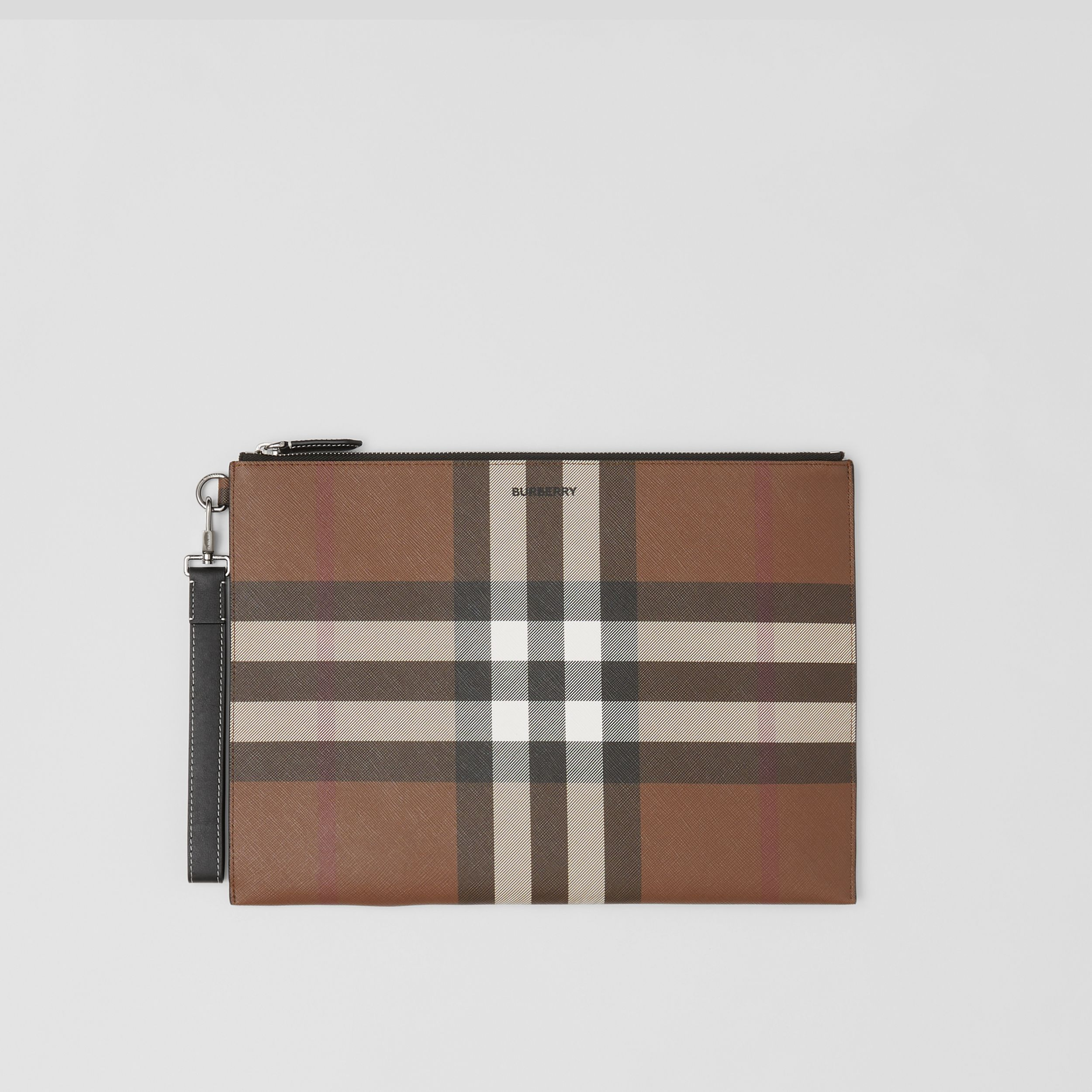 Large Check E-canvas Zip Pouch in Dark Birch Brown | Burberry - 1
