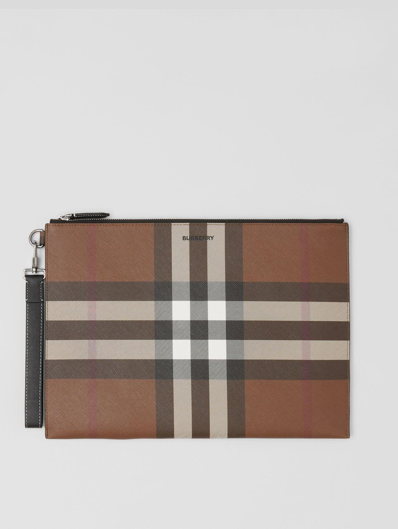 Large Check E-canvas Zip Pouch in Dark Birch Brown