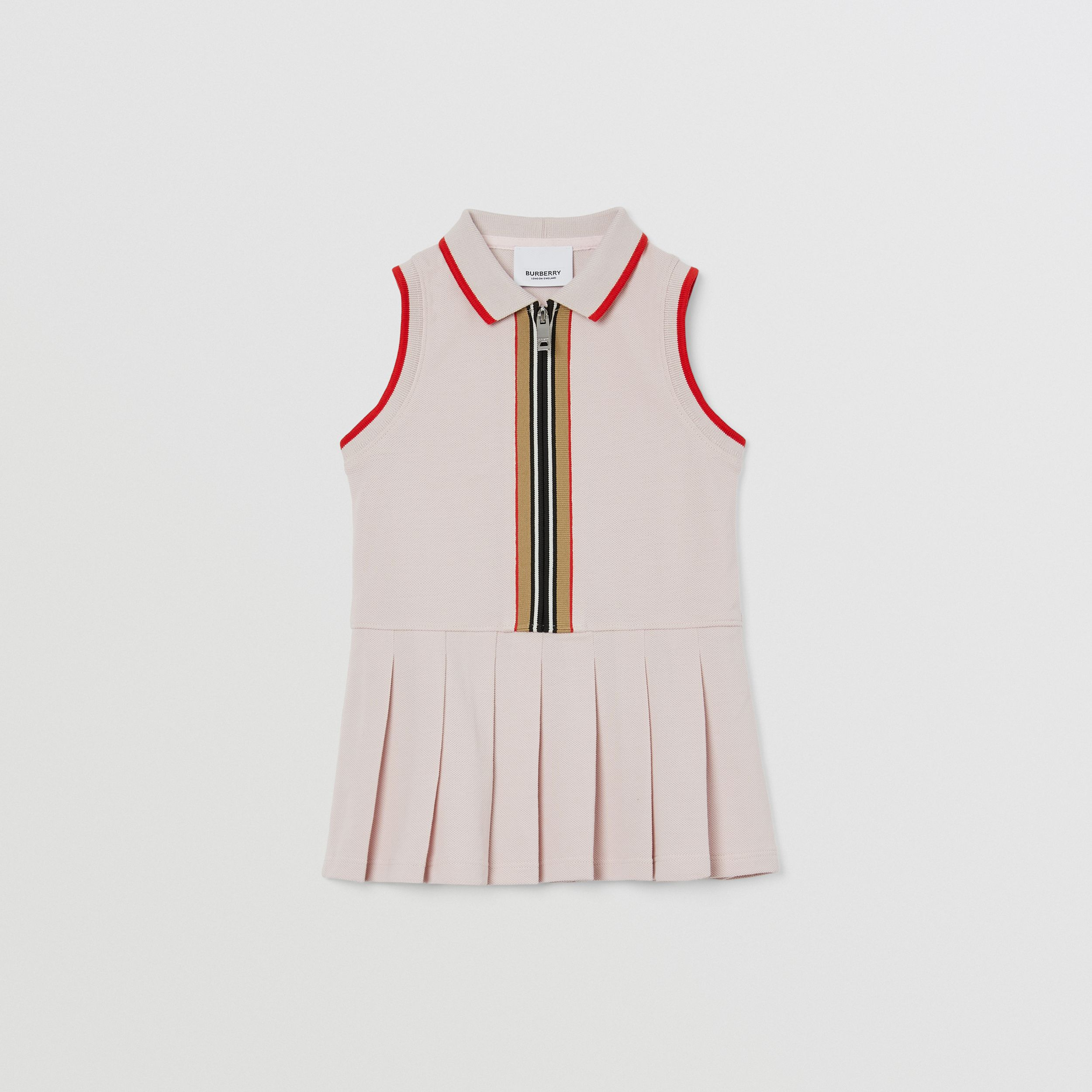 Icon Stripe Detail Cotton Sleeveless Polo Shirt Dress in Pastel Pink - Children | Burberry United Kingdom - 1