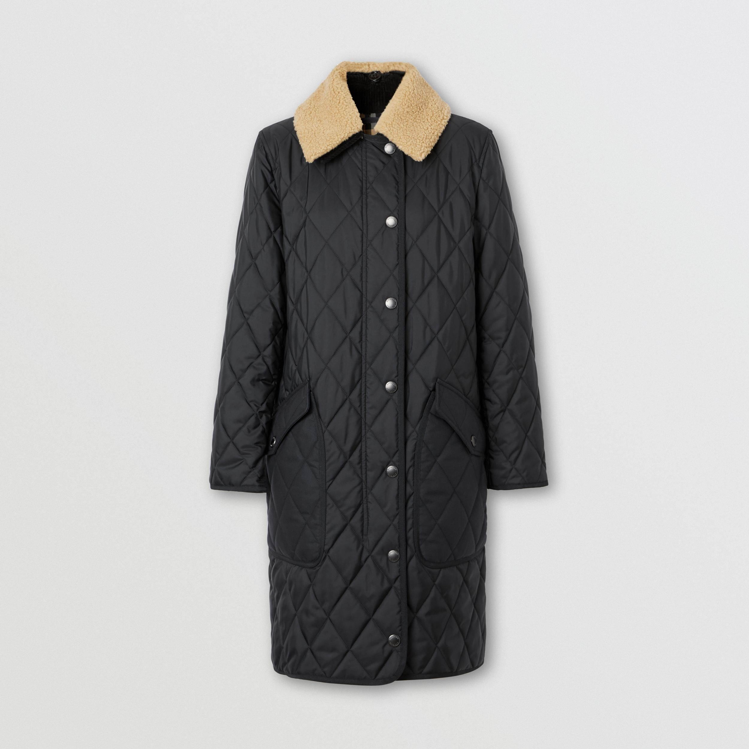 Detachable Fleece Collar Diamond Quilted Coat in Black - Women | Burberry - 4