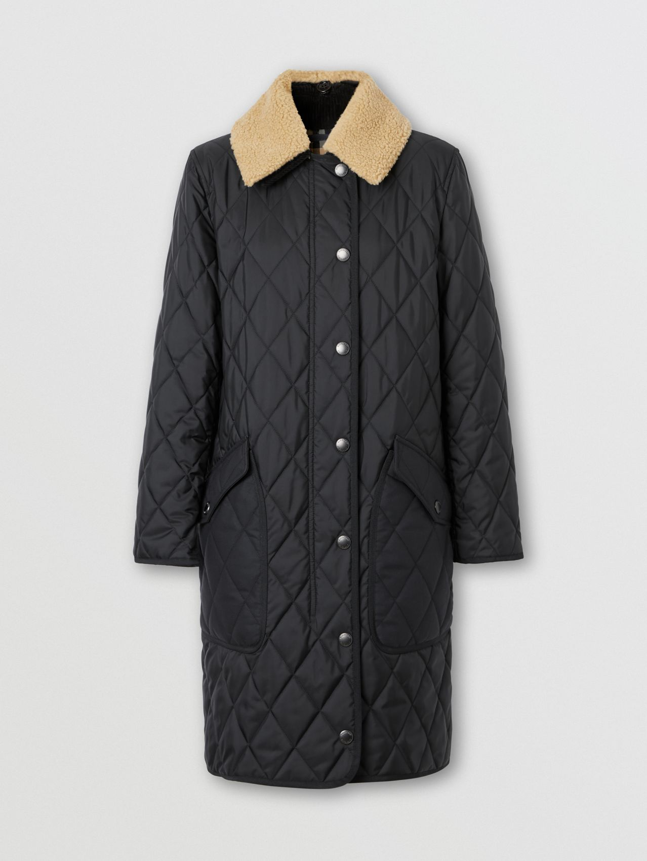 Detachable Fleece Collar Diamond Quilted Coat in Black