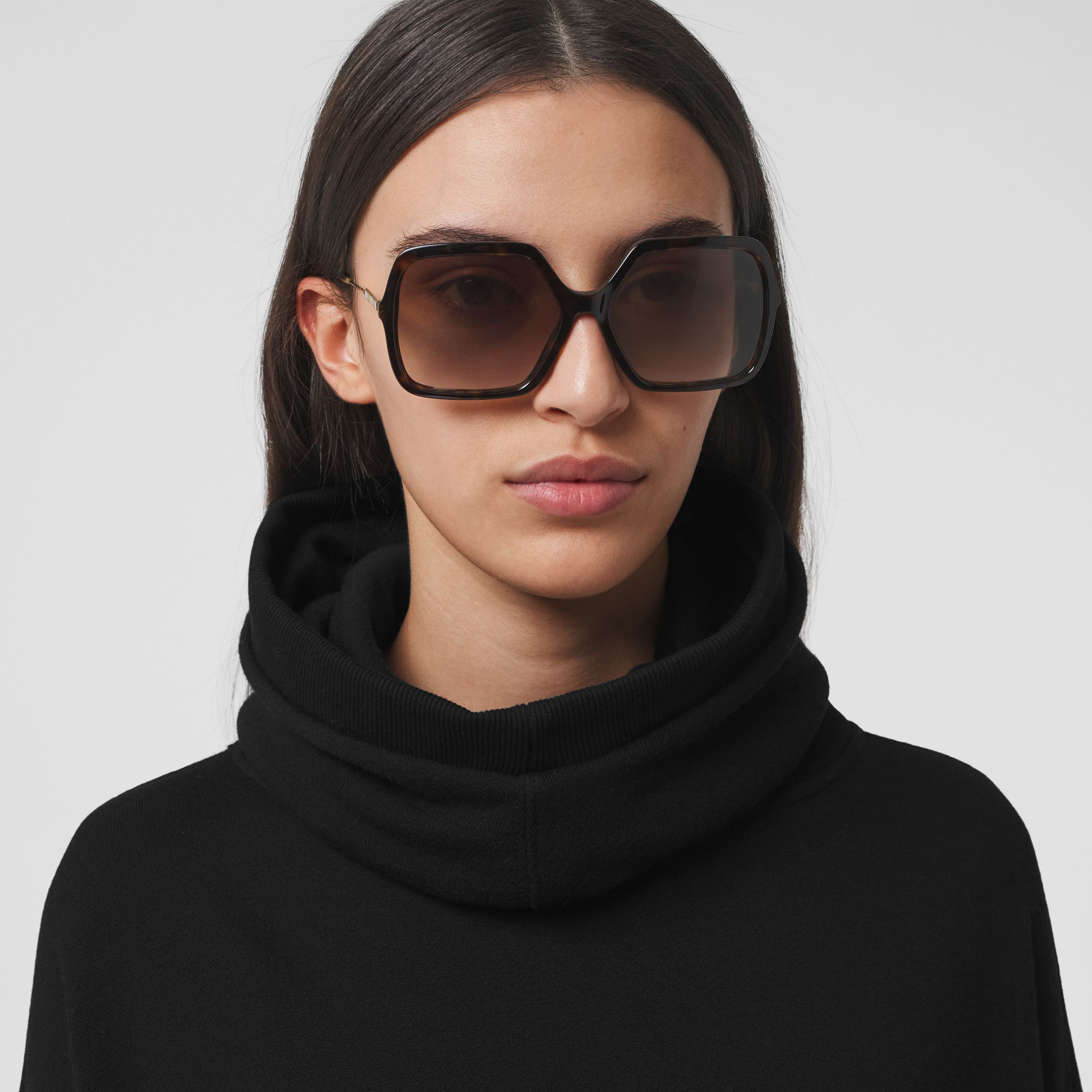 Cut-out Sleeve Jersey Hooded Cape in Black - Women | Burberry - 2