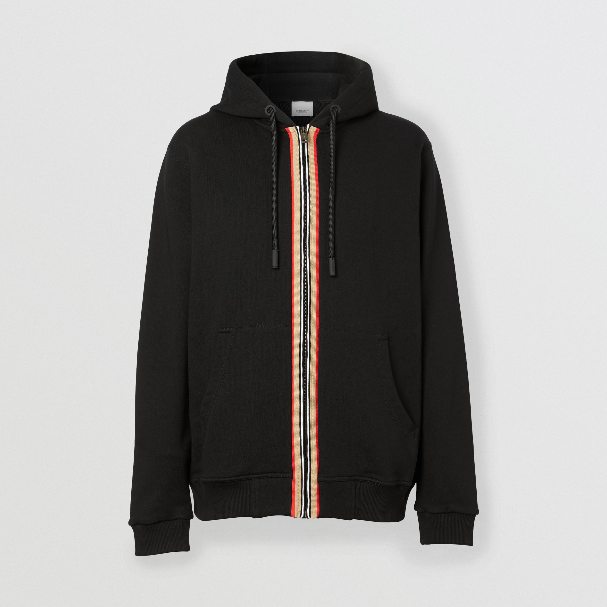 Icon Stripe Detail Cotton Hooded Top in Black - Men | Burberry - 4