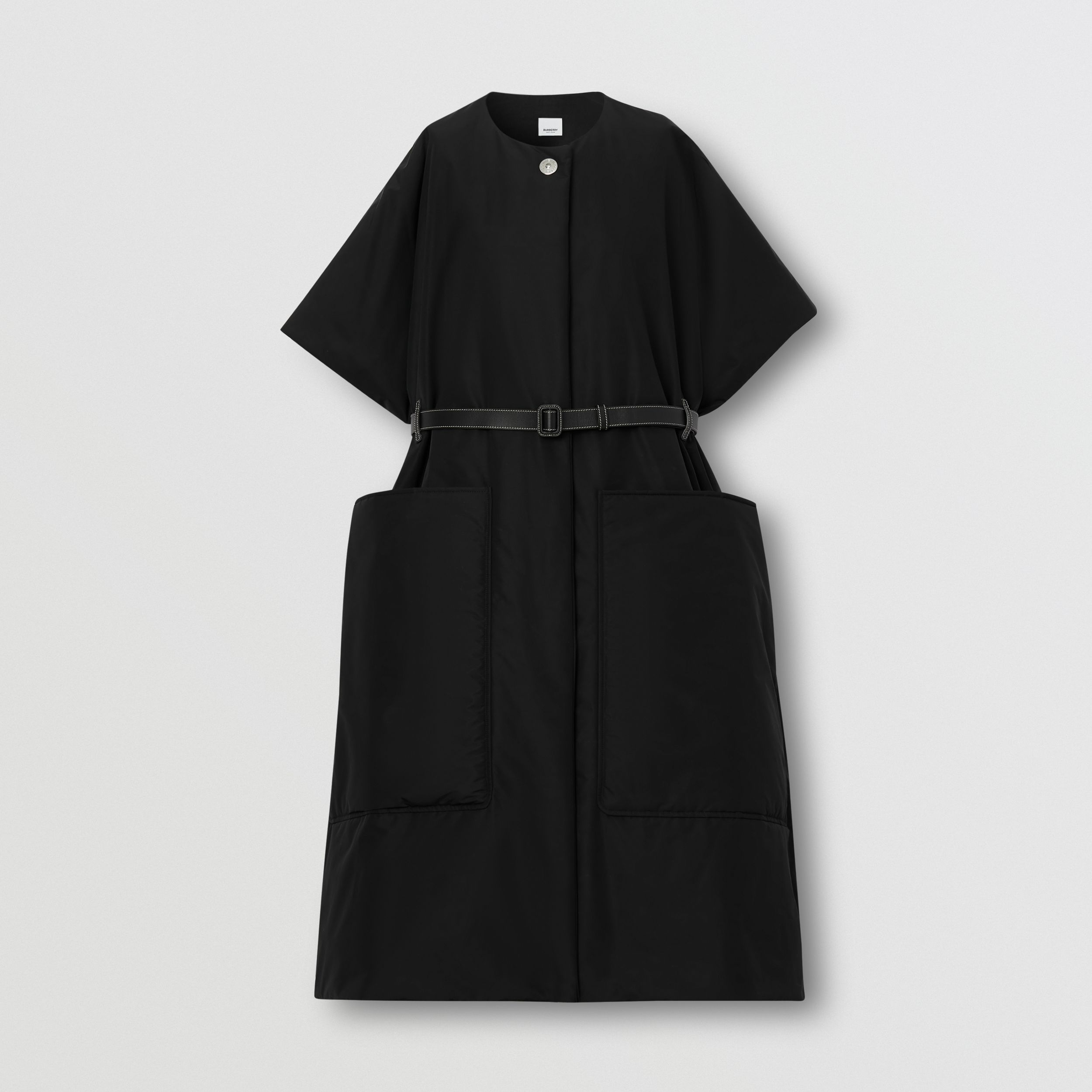 Short-sleeve Technical Cotton Belted Cape in Black - Women | Burberry - 4