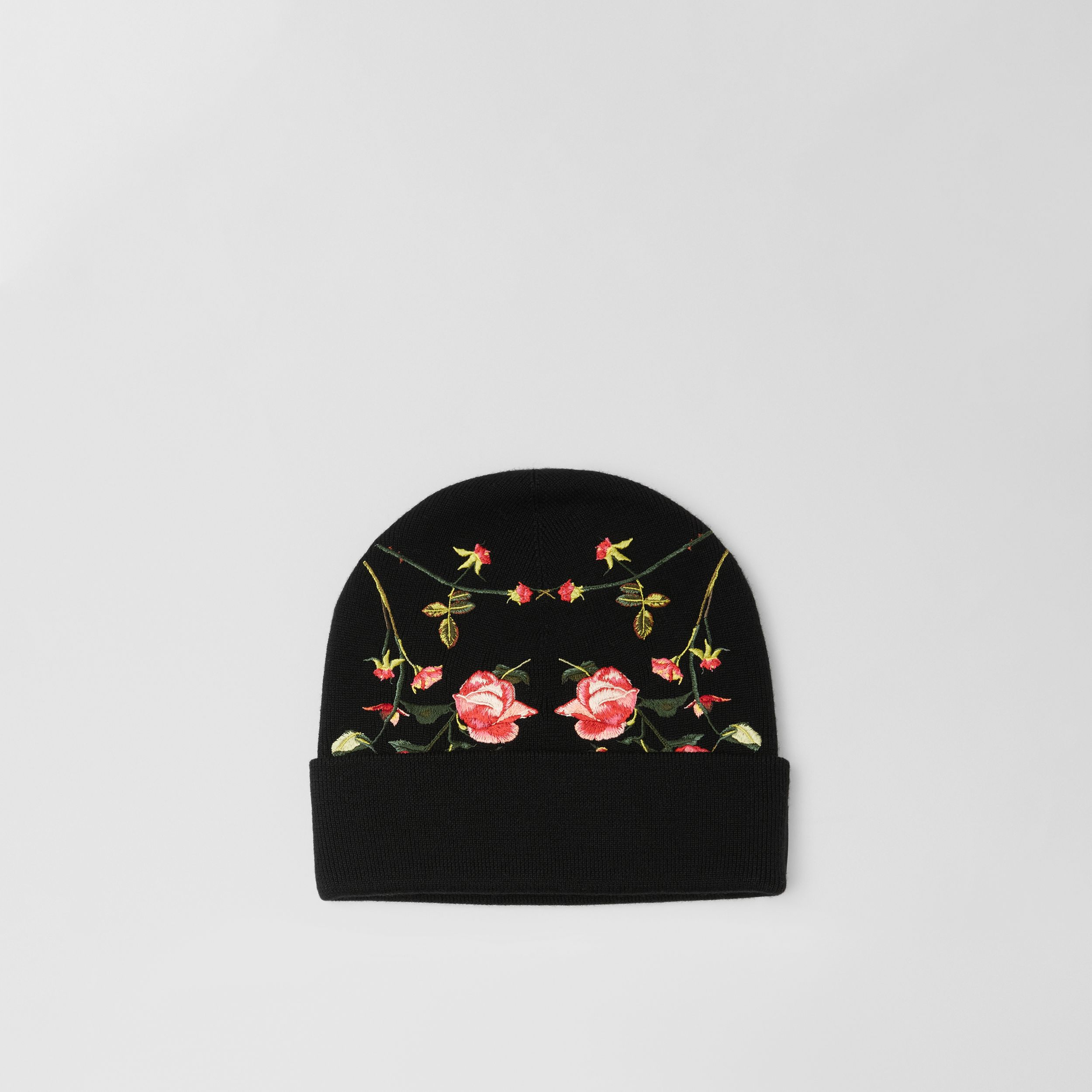 Embroidered Rose Merino Wool Beanie in Black | Burberry - 1