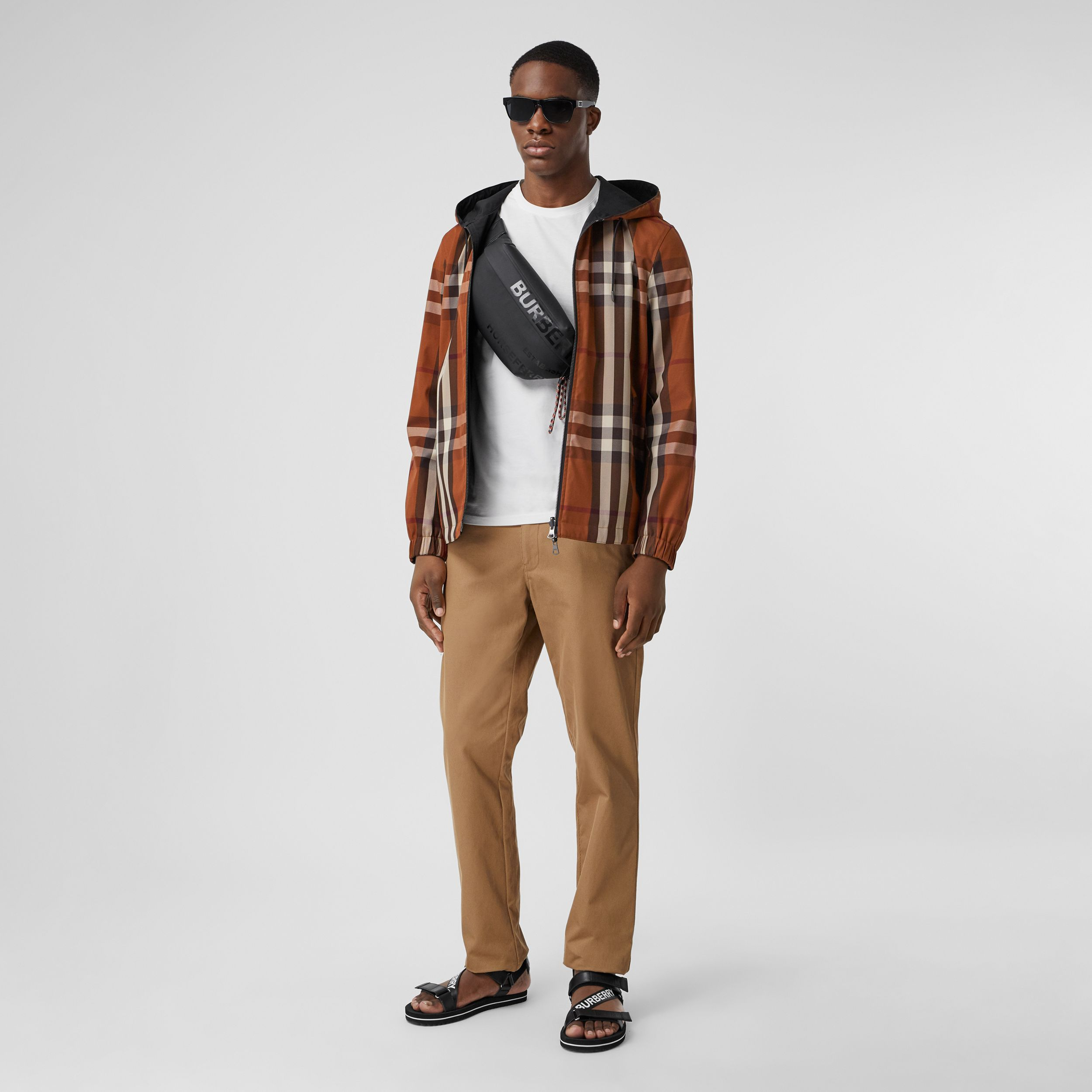 Reversible Check Technical Cotton Hooded Jacket in Dark Birch Brown - Men | Burberry - 1