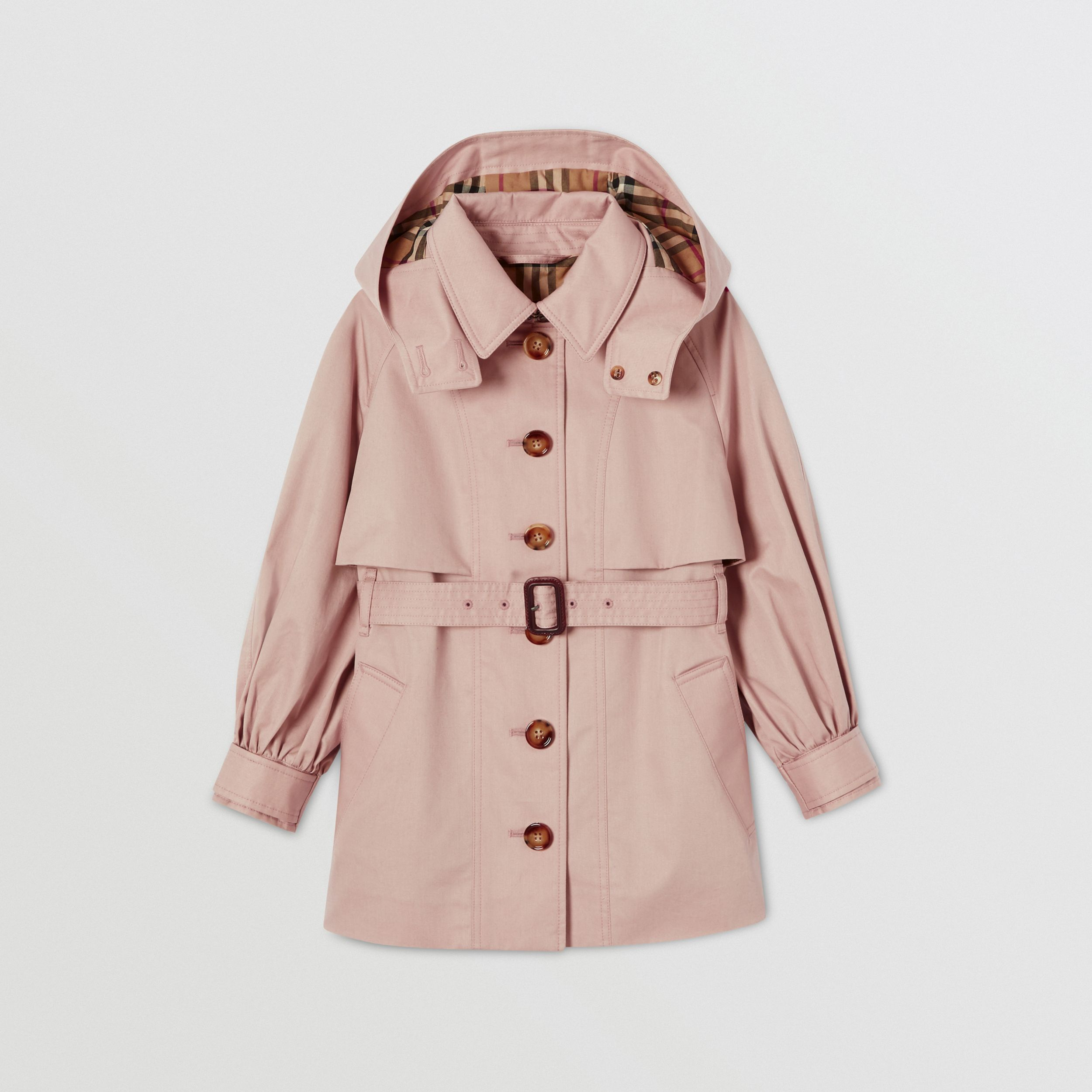 Detachable Hood Cotton Twill Trench Coat in Ice Pink | Burberry United Kingdom - 1