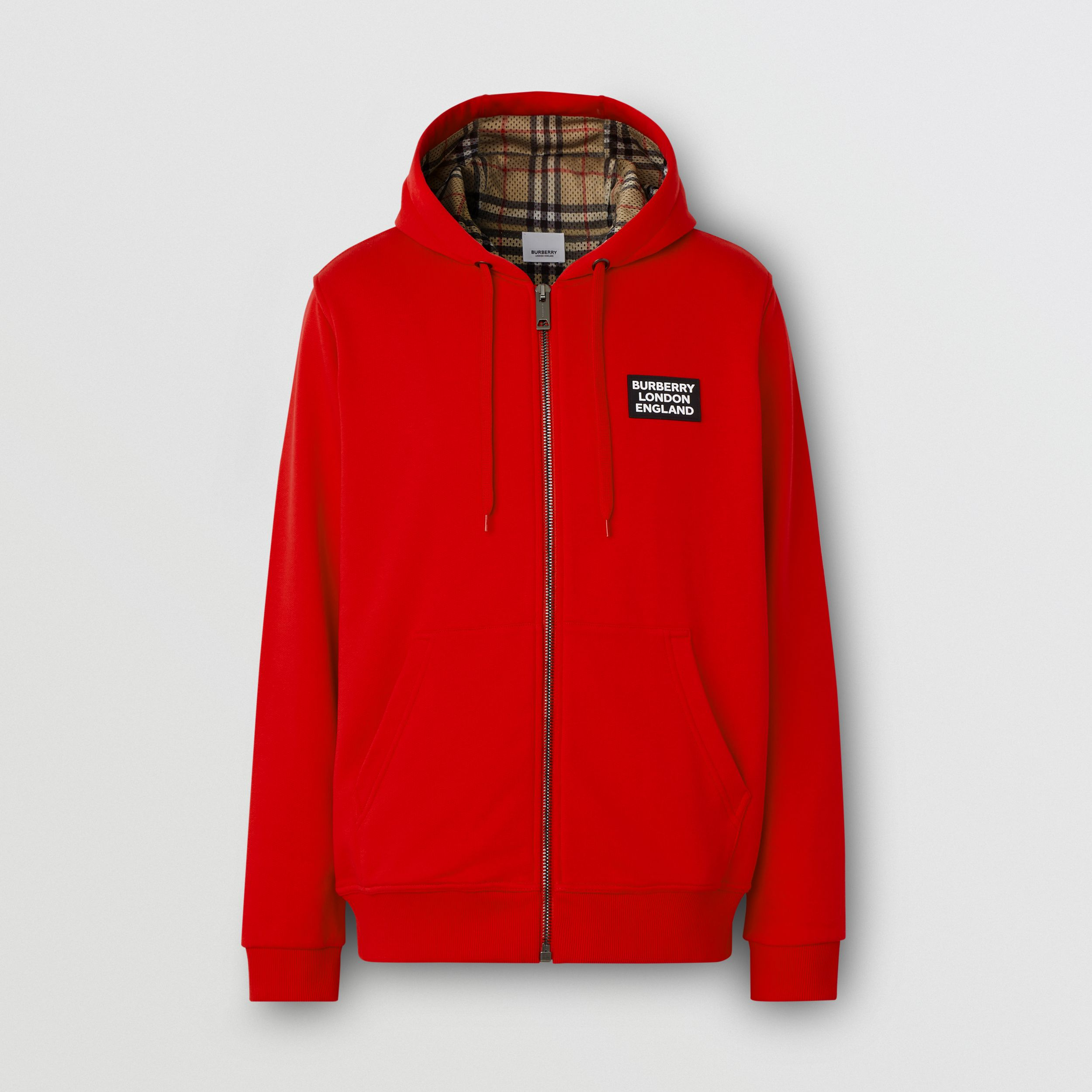 Logo Appliqué Cotton Hooded Top in Bright Red - Men | Burberry - 1