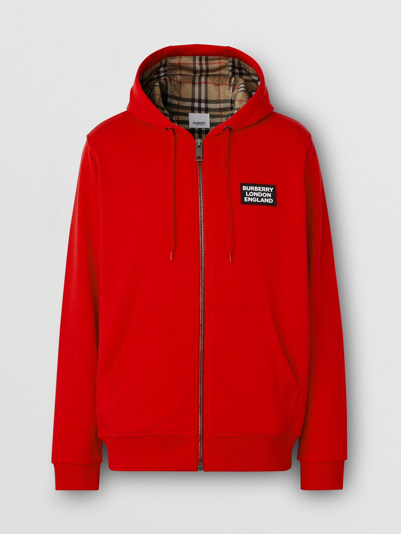 Logo Appliqué Cotton Hooded Top in Bright Red