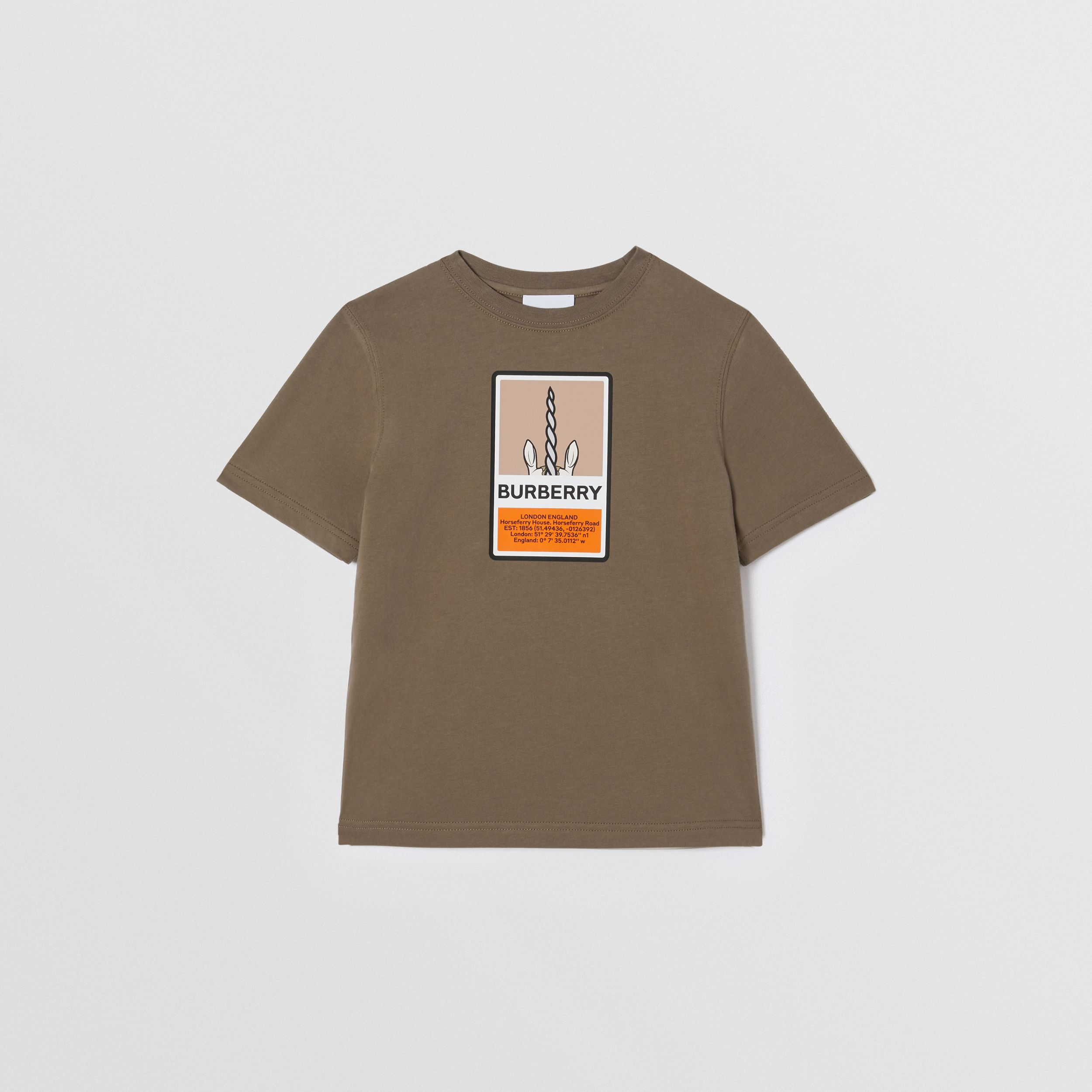 Logo Graphic Print Cotton T-shirt in Smoke | Burberry - 1