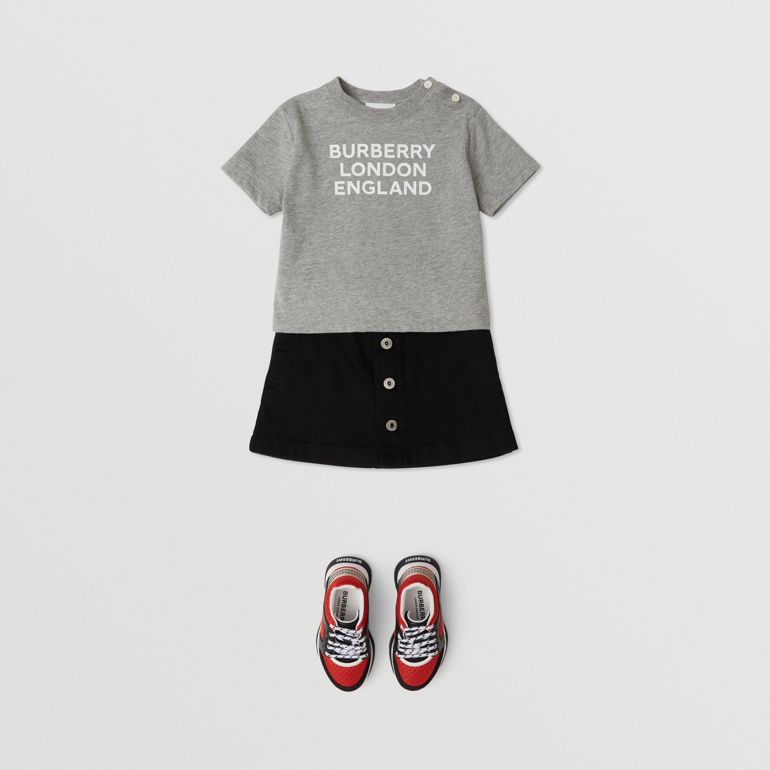 Logo Print Cotton T-shirt in Grey Melange - Children | Burberry - 3