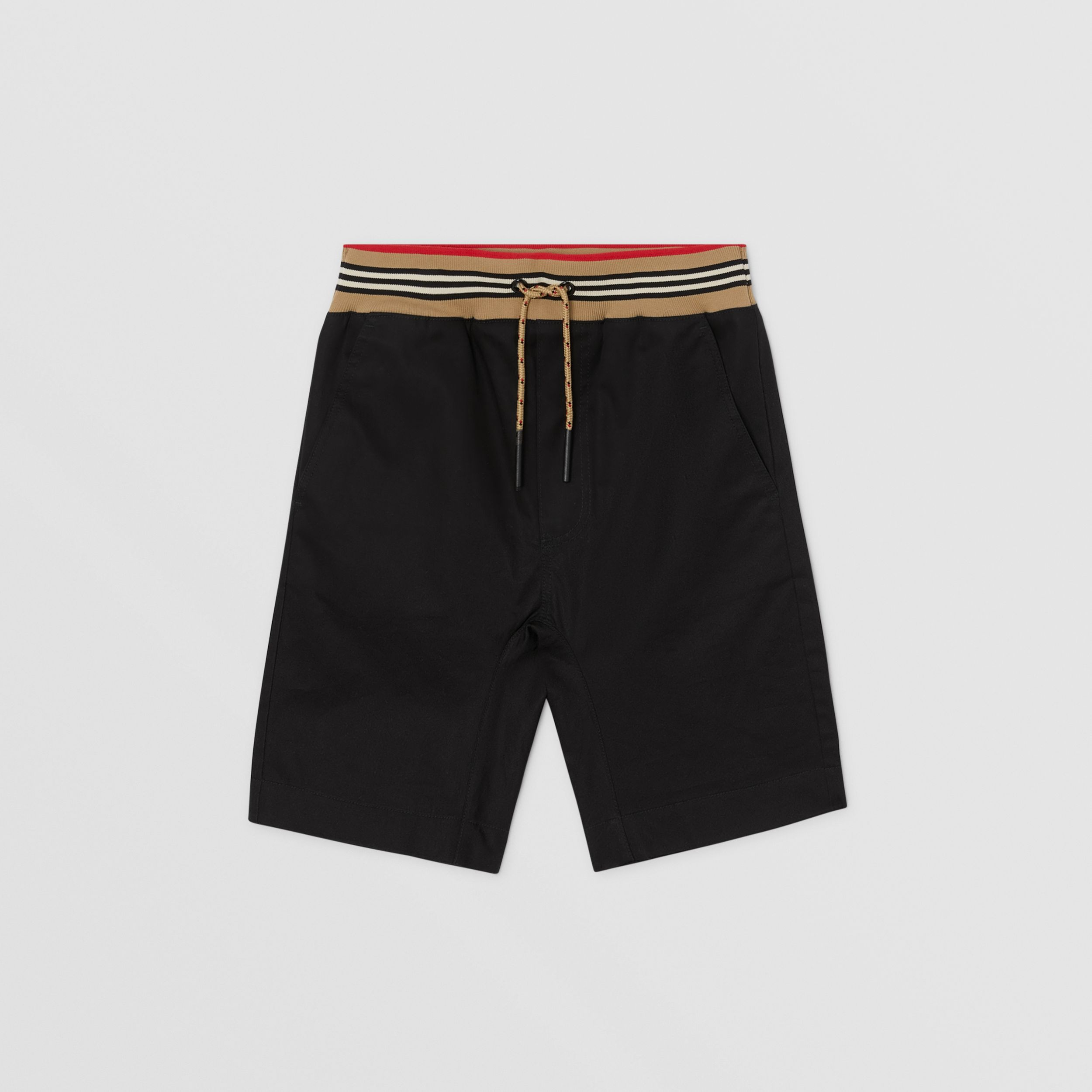 Icon Stripe Detail Cotton Twill Shorts in Black | Burberry - 1