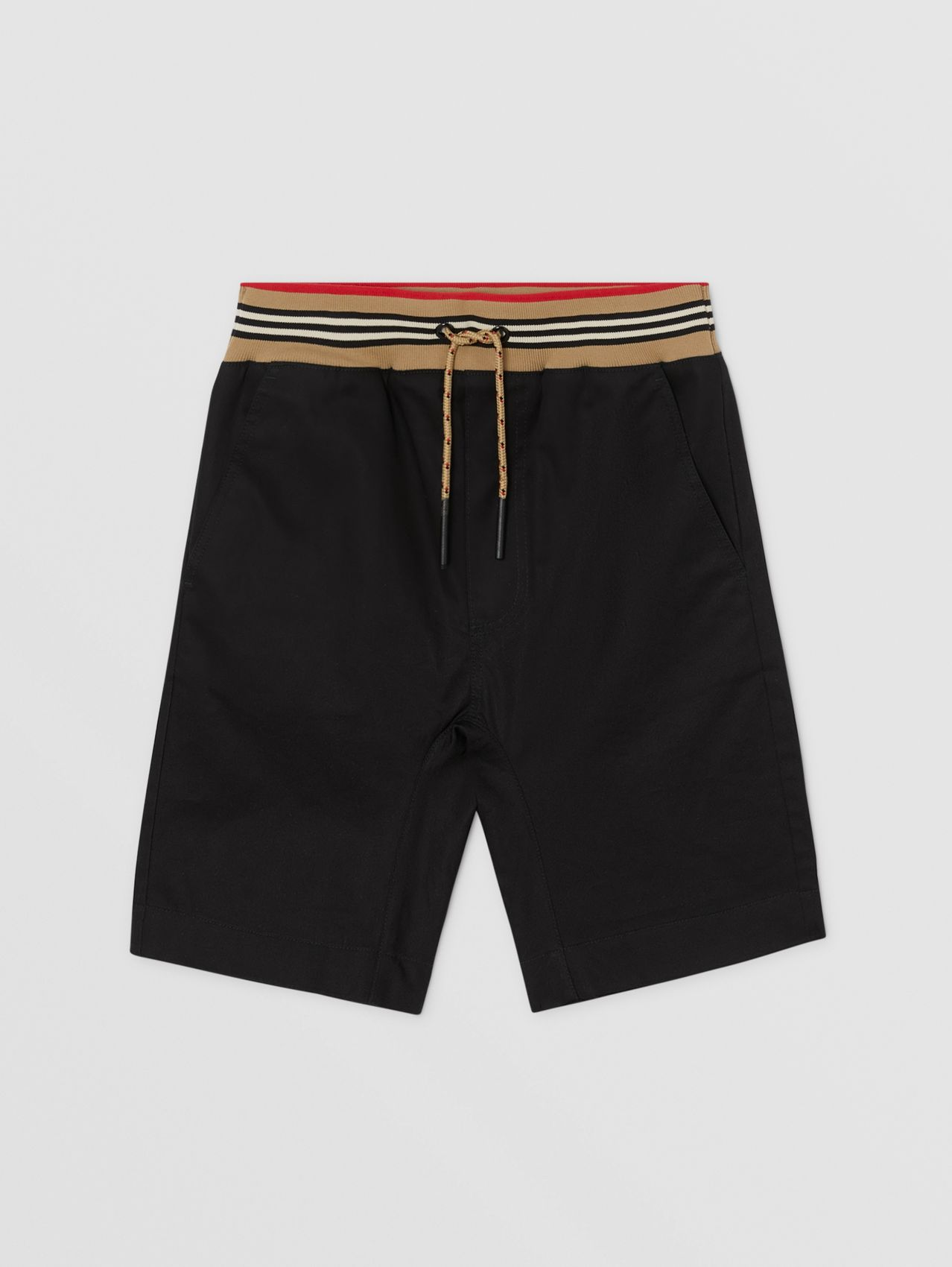 Icon Stripe Detail Cotton Twill Shorts in Black