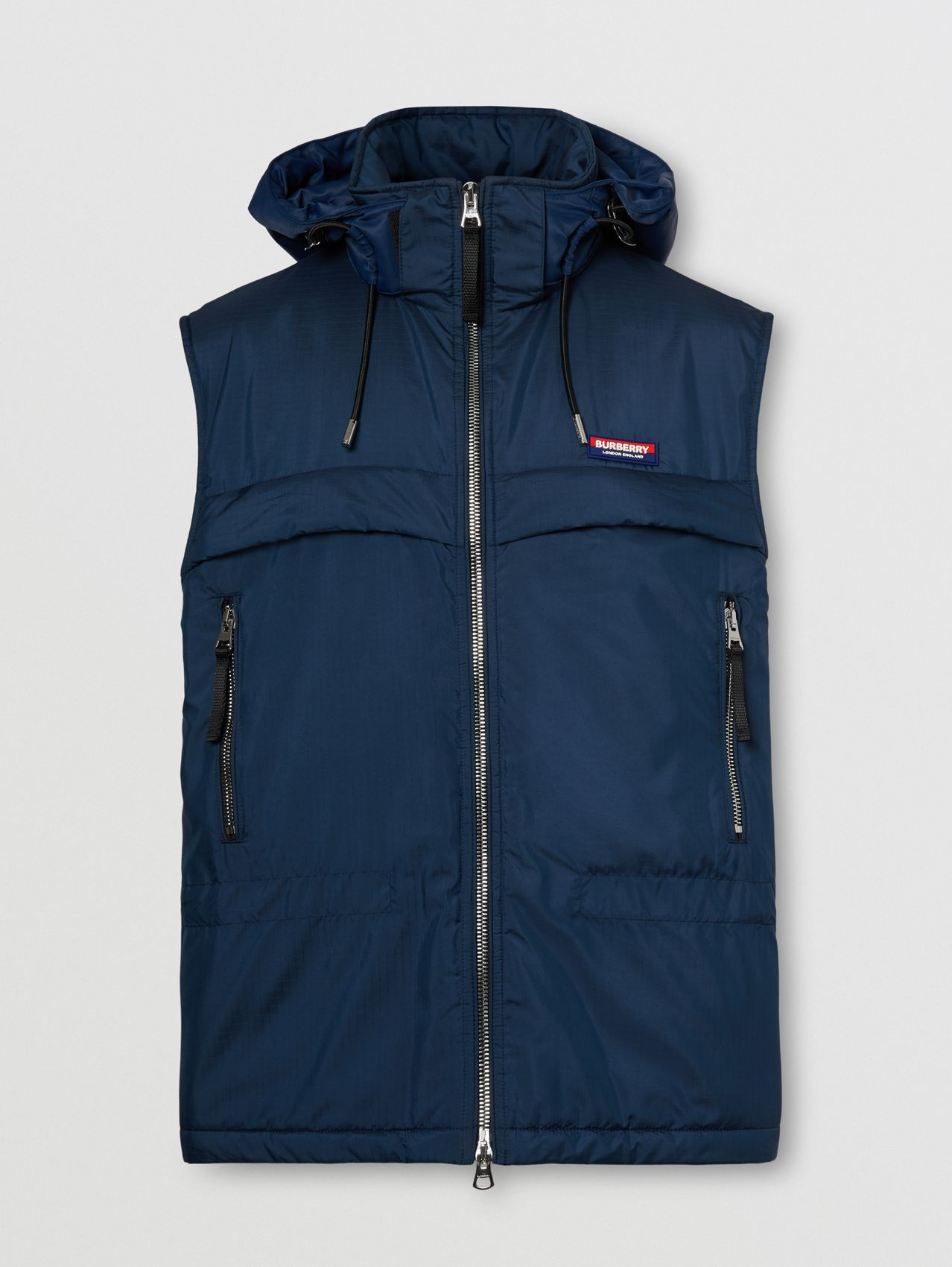 Detachable Hood Logo Appliqué Lightweight Gilet in Ink Blue