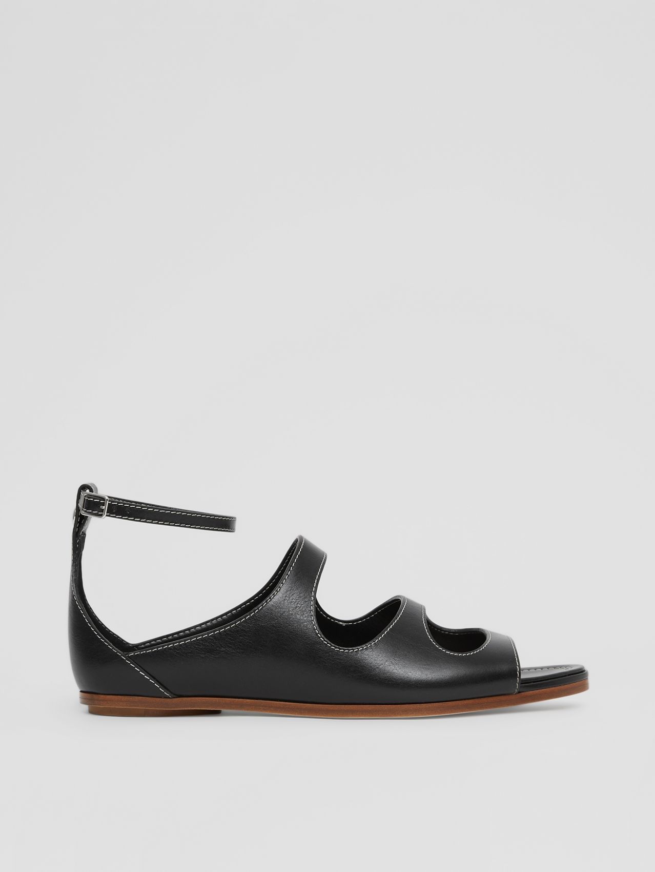 Cut-out Detail Topstitched Leather Sandals in Black