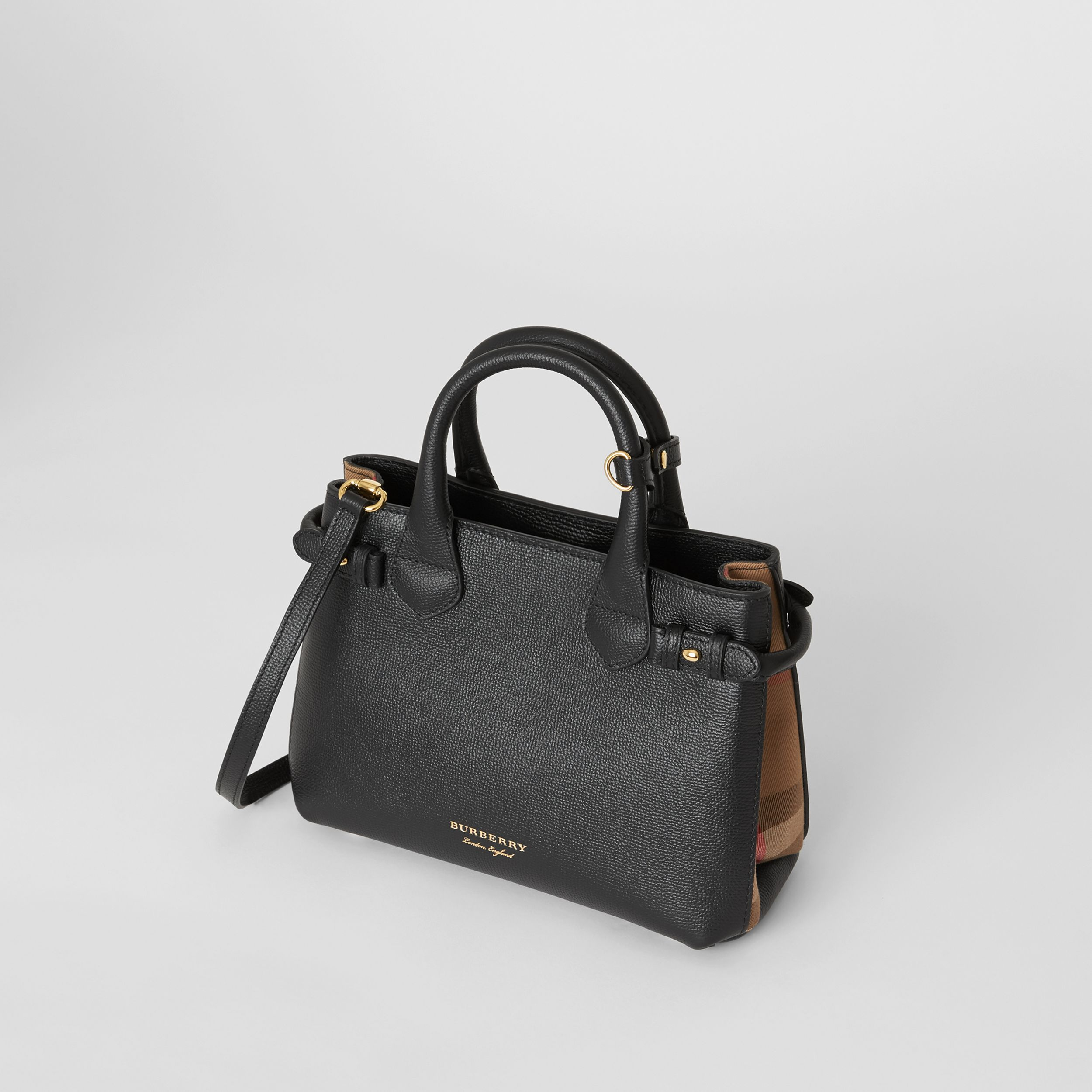 The Small Banner in Leather and House Check in Black - Women | Burberry - 3