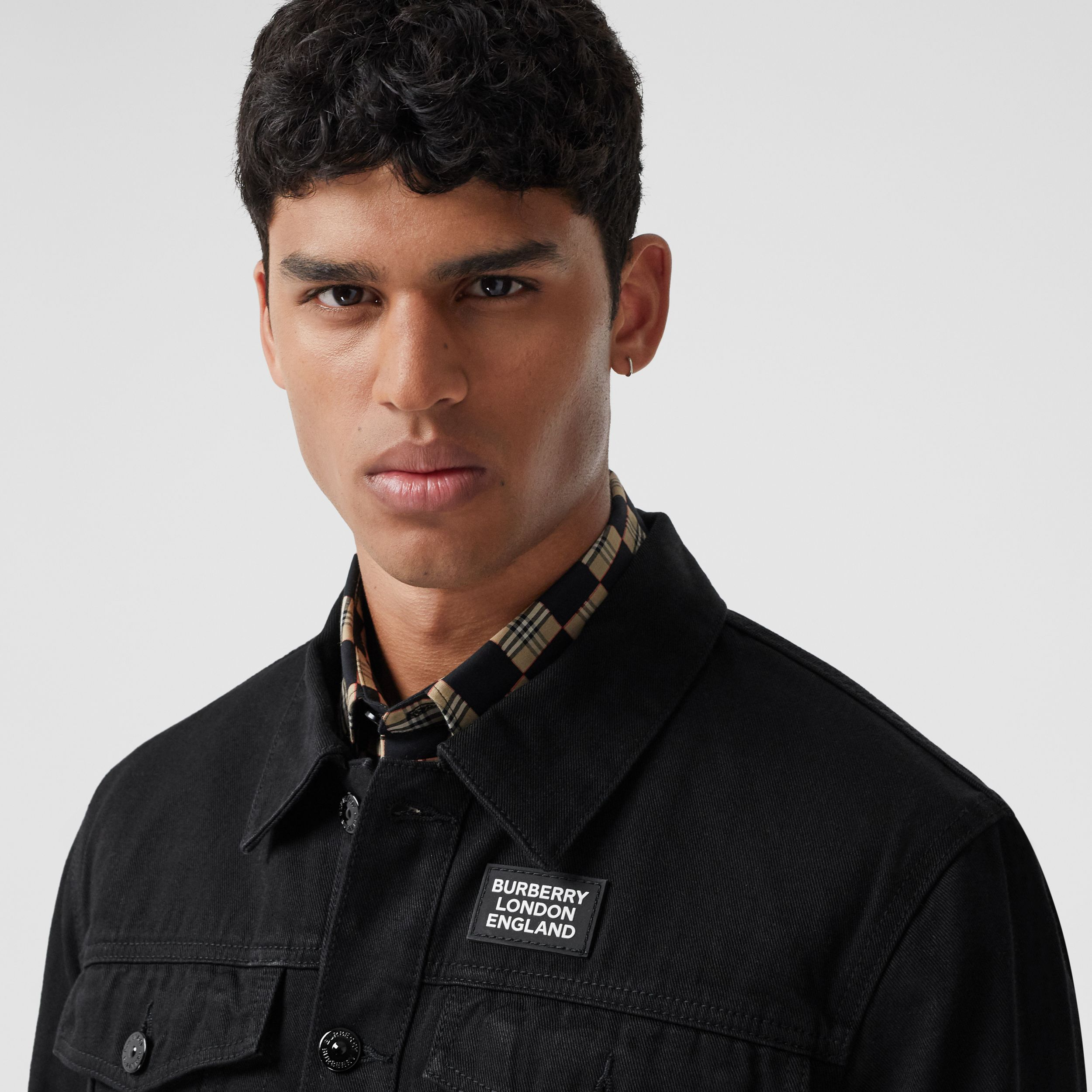 Logo Appliqué Japanese Denim Jacket in Black - Men | Burberry - 2