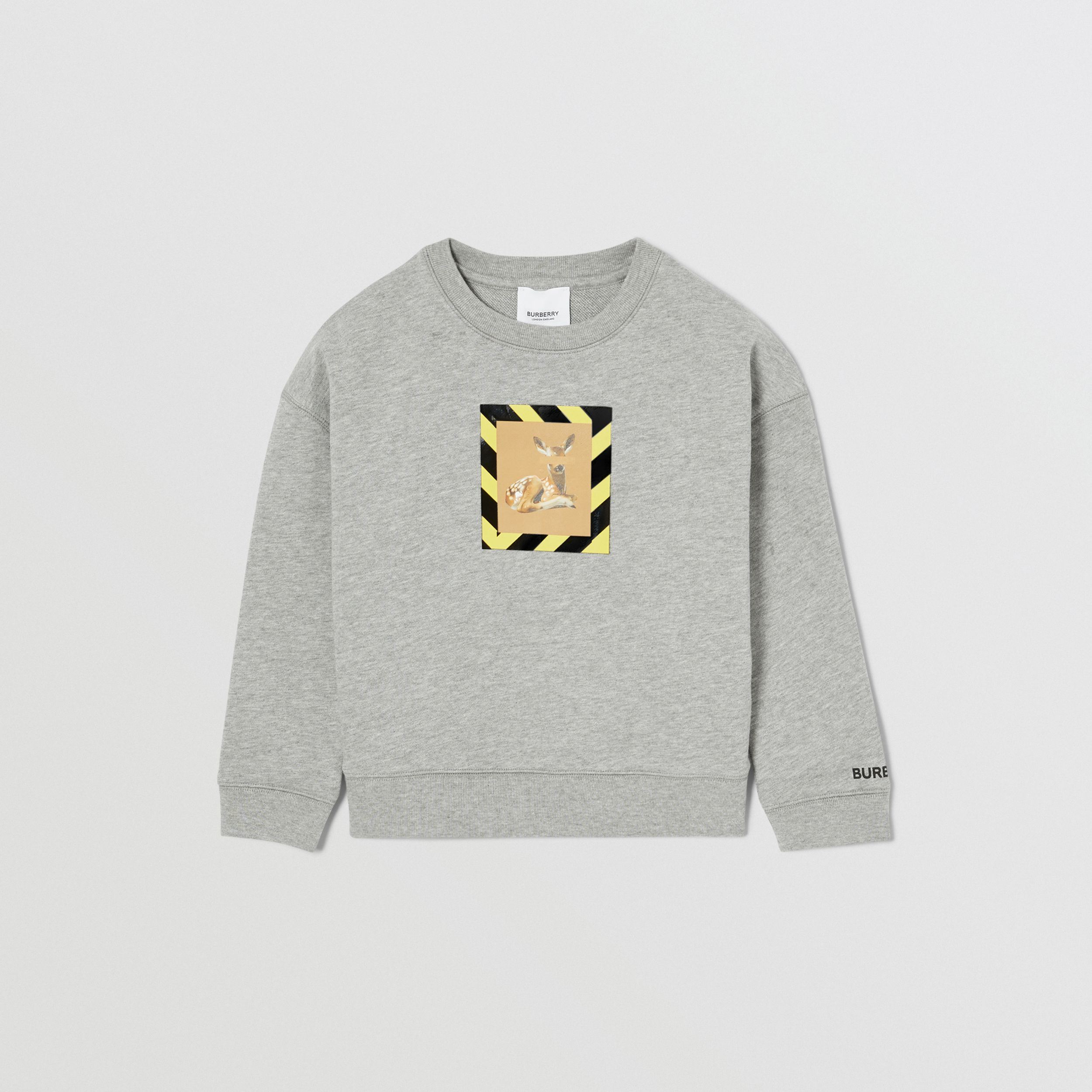 Deer Print Cotton Sweatshirt in Grey Melange | Burberry - 1