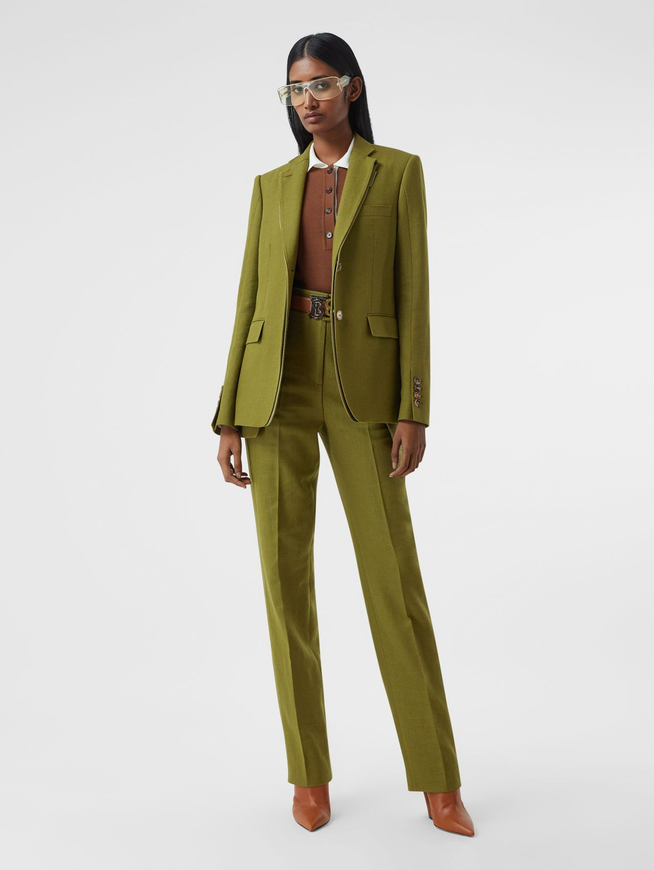 Wool Ramie Tailored Trousers in Juniper Green