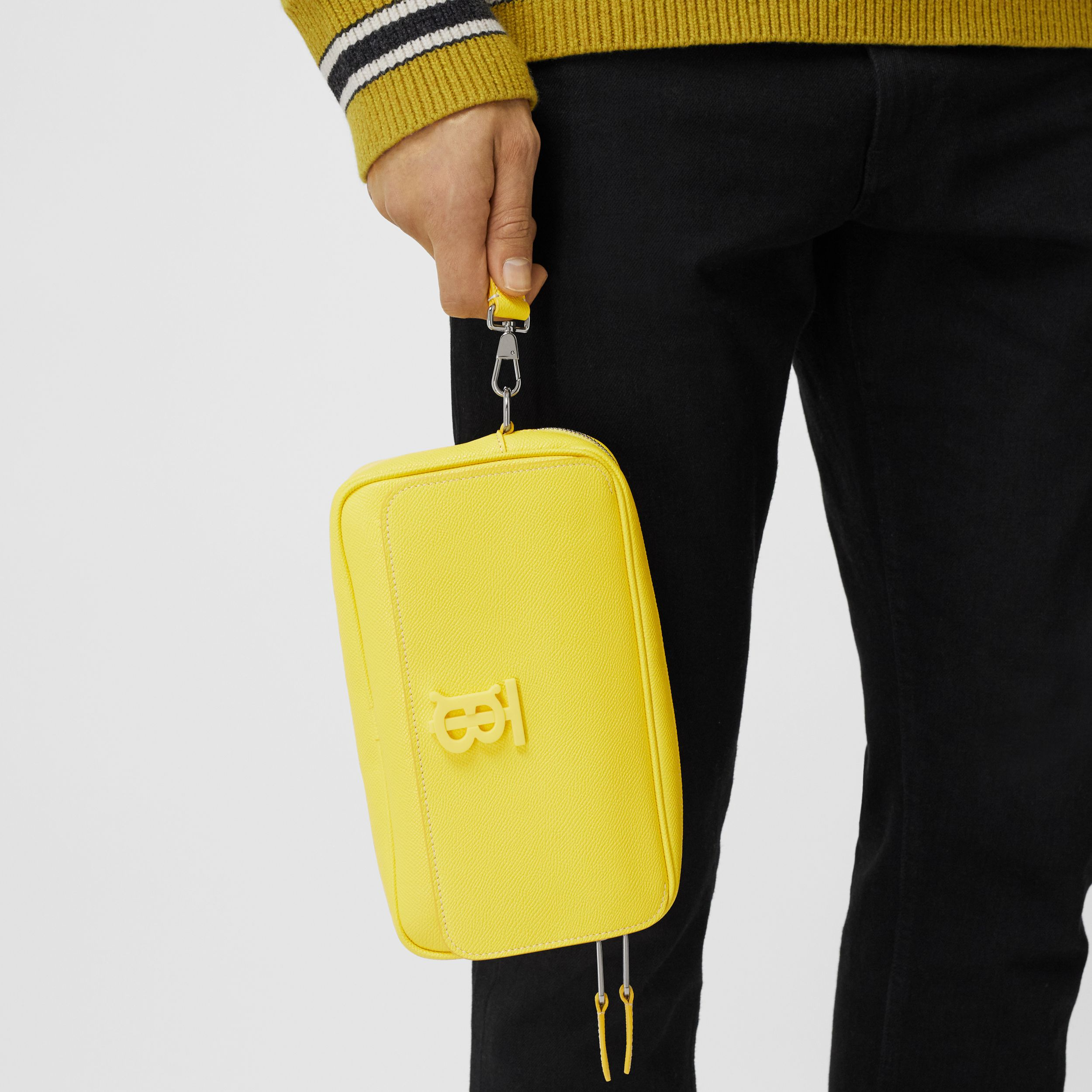 Monogram Motif Grainy Leather Bum Bag in Marigold Yellow - Men | Burberry - 4