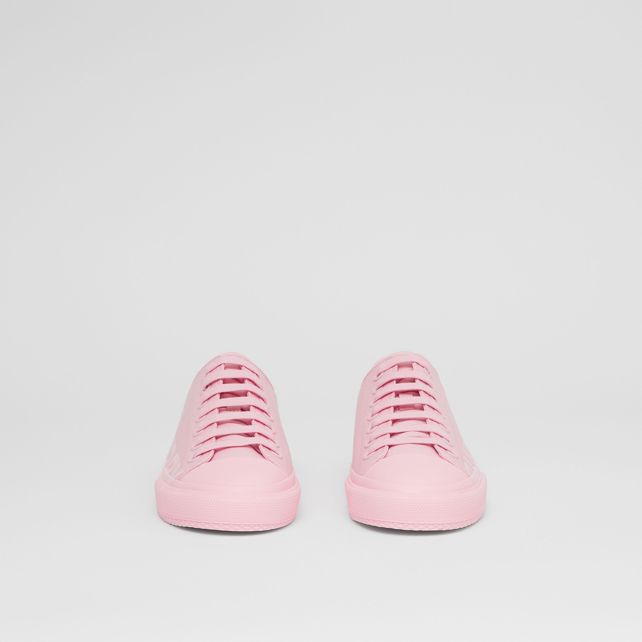 Logo Print Cotton Gabardine Sneakers in Orchid Pink - Women | Burberry Canada - 3