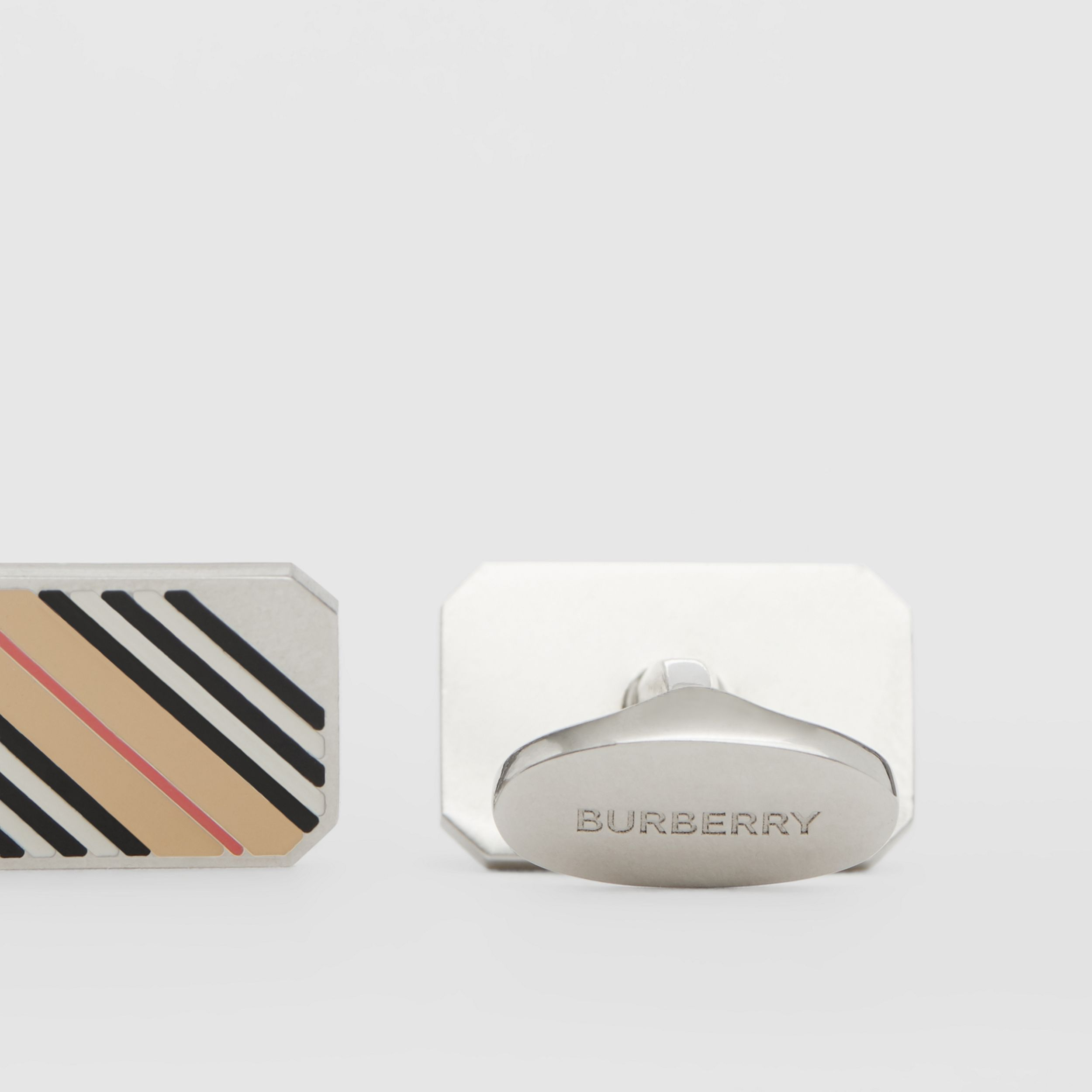 Icon Stripe Palladium-plated Cufflinks - Men | Burberry Australia - 2