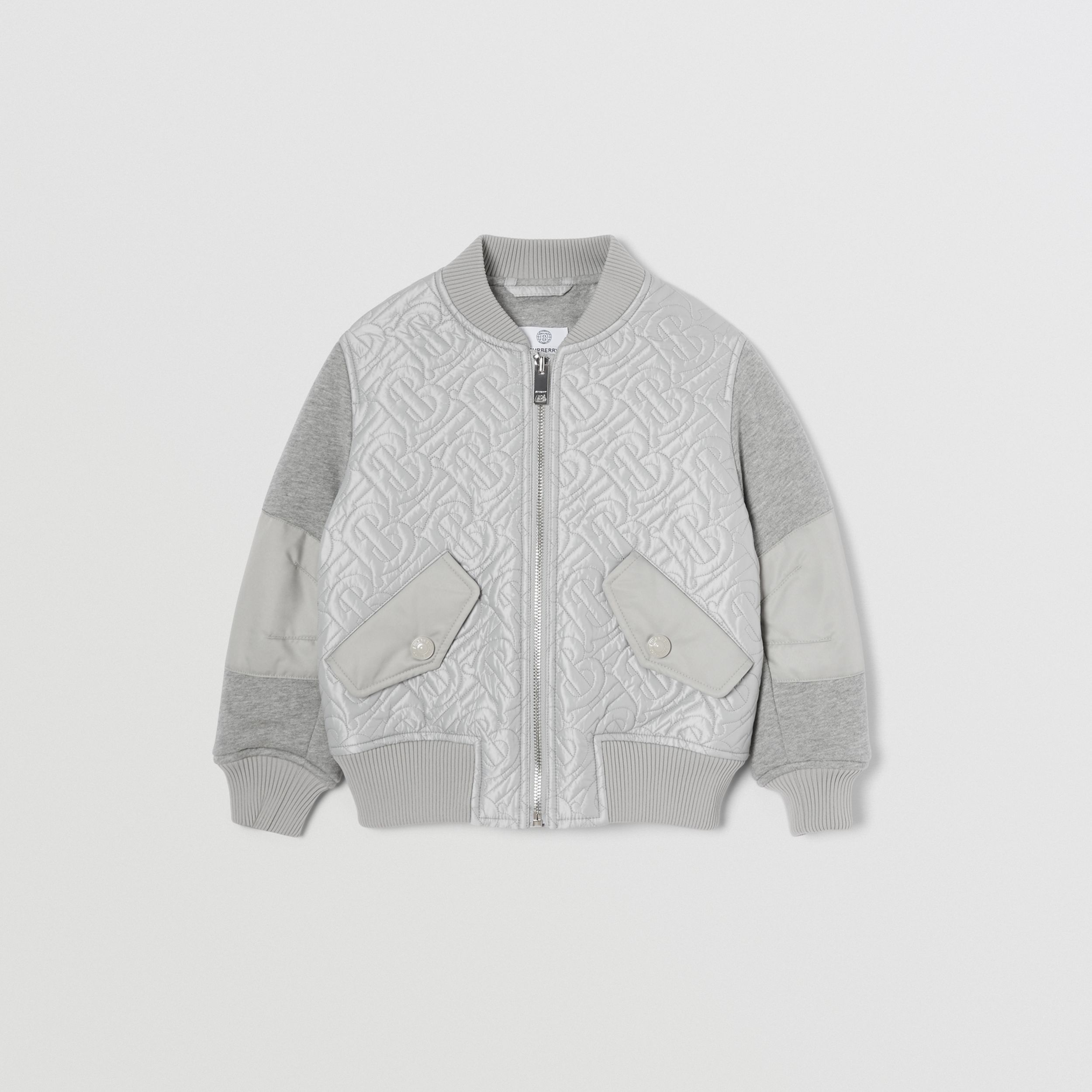 Monogram Quilted Recycled Polyester Bomber Jacket in Light Grey | Burberry - 1