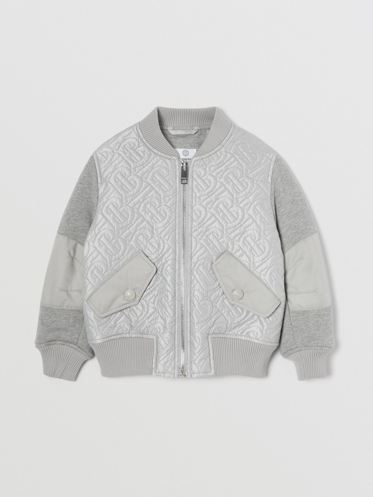 Monogram Quilted Recycled Polyester Bomber Jacket in Light Grey