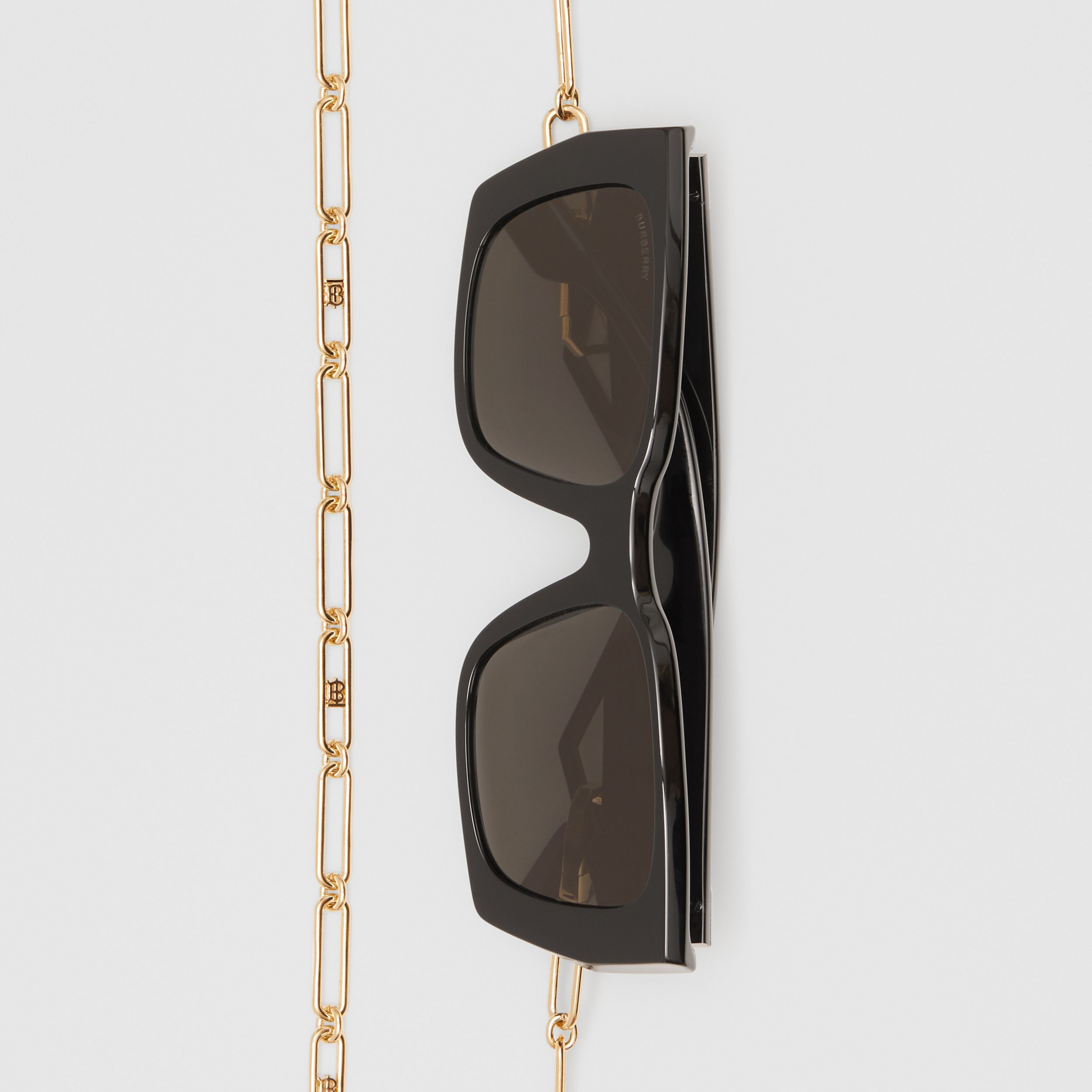 B Motif Rectangular Frame Sunglasses with Chain in Black - Women | Burberry - 4