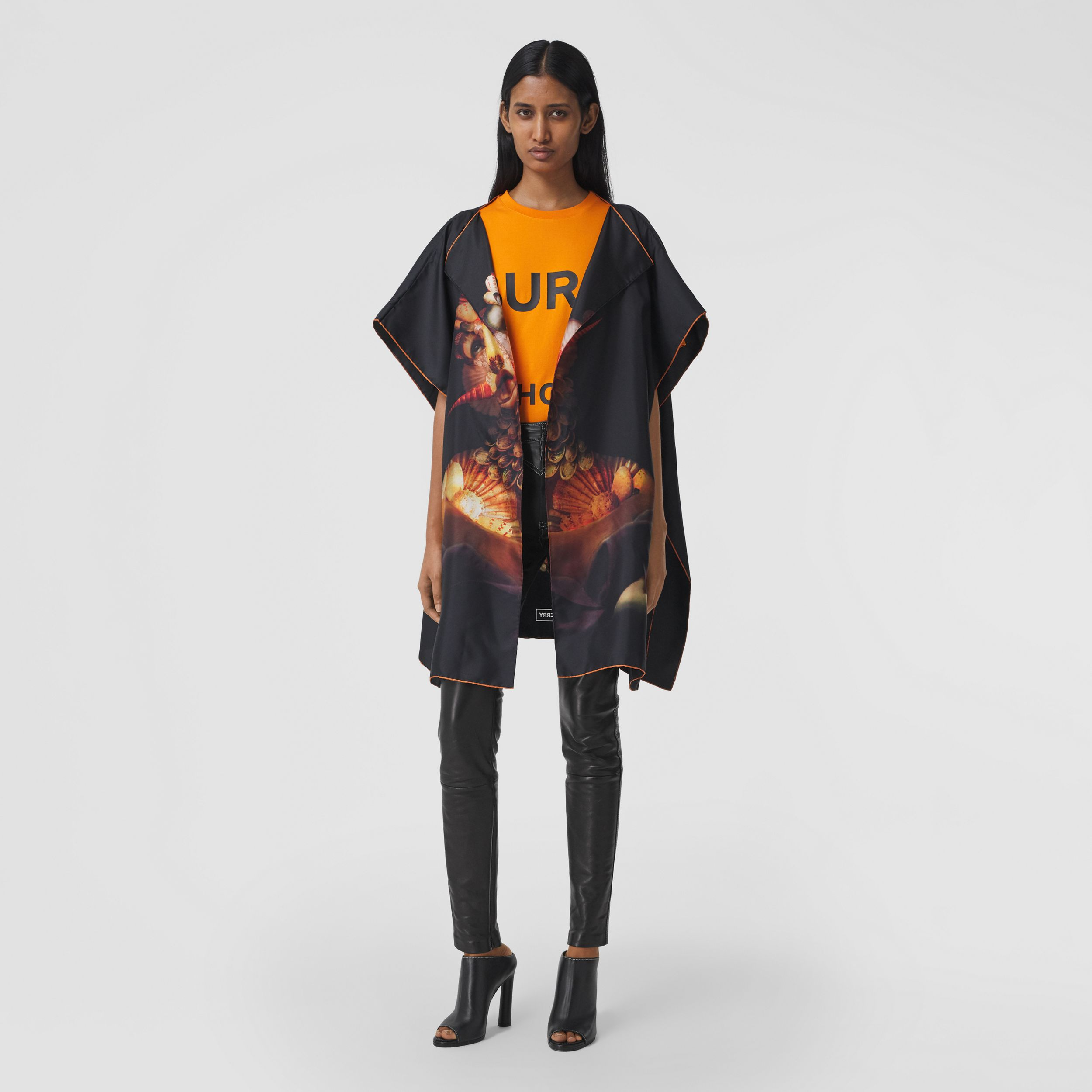 Sea Maiden Print Silk Twill Cape in Black - Women | Burberry - 1