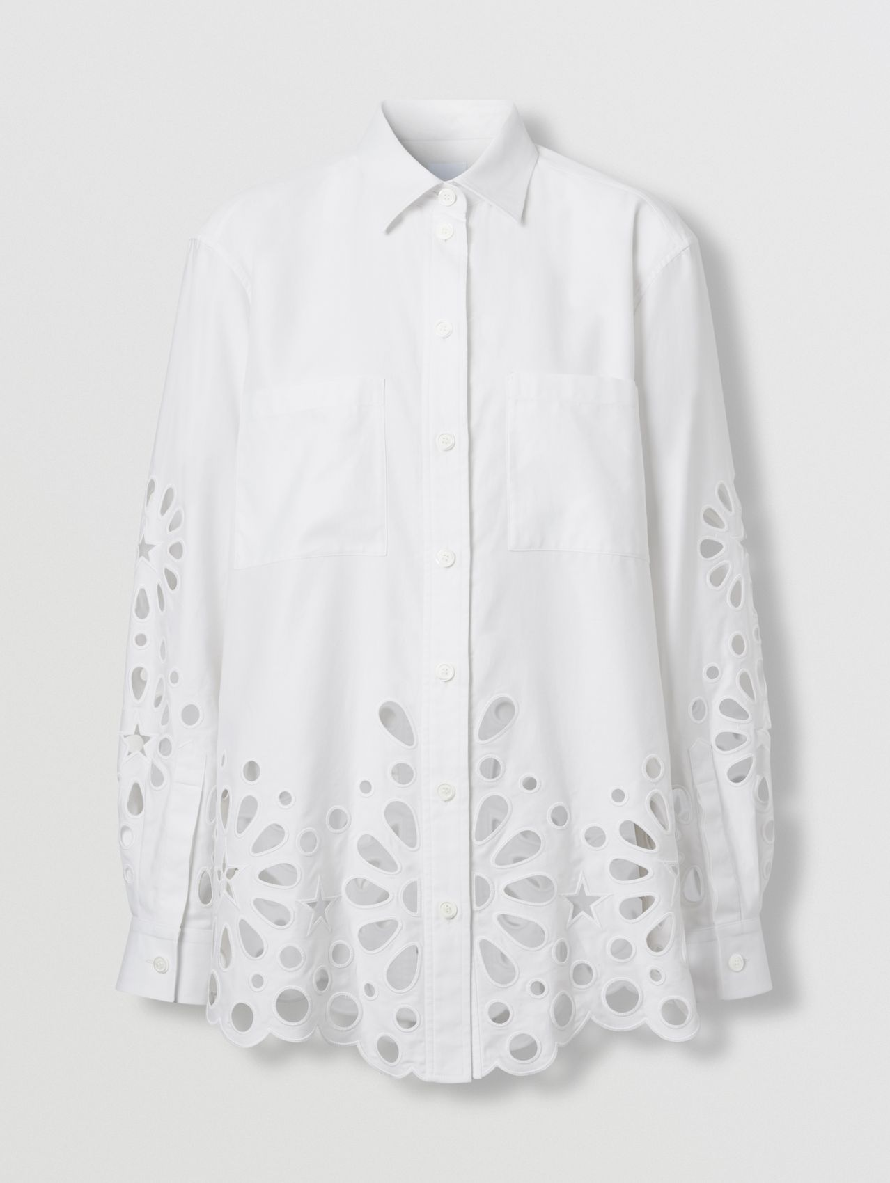 Broderie Anglaise Detail Cotton Shirt in White