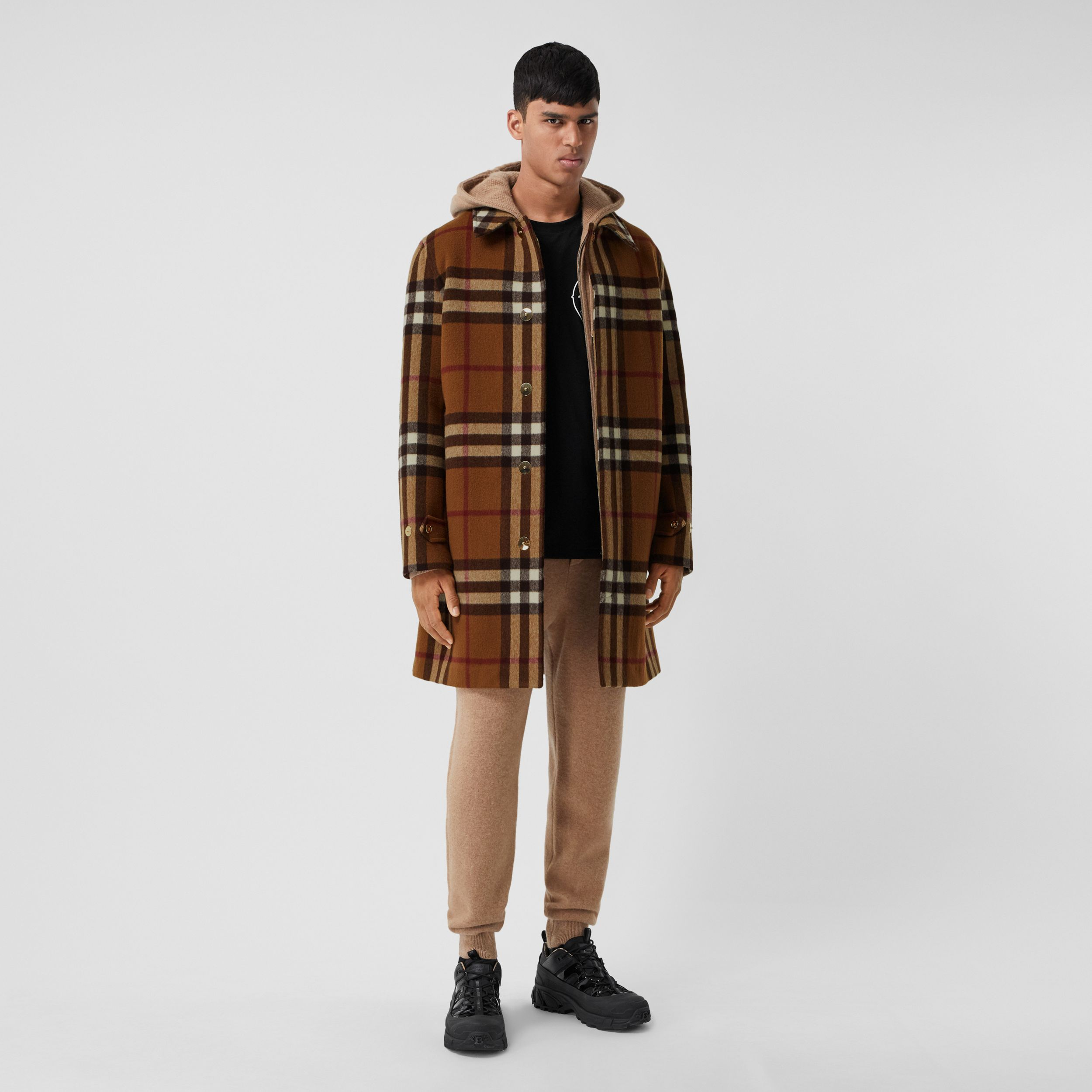 Double-faced Check Wool Car Coat in Dark Birch Brown | Burberry - 1