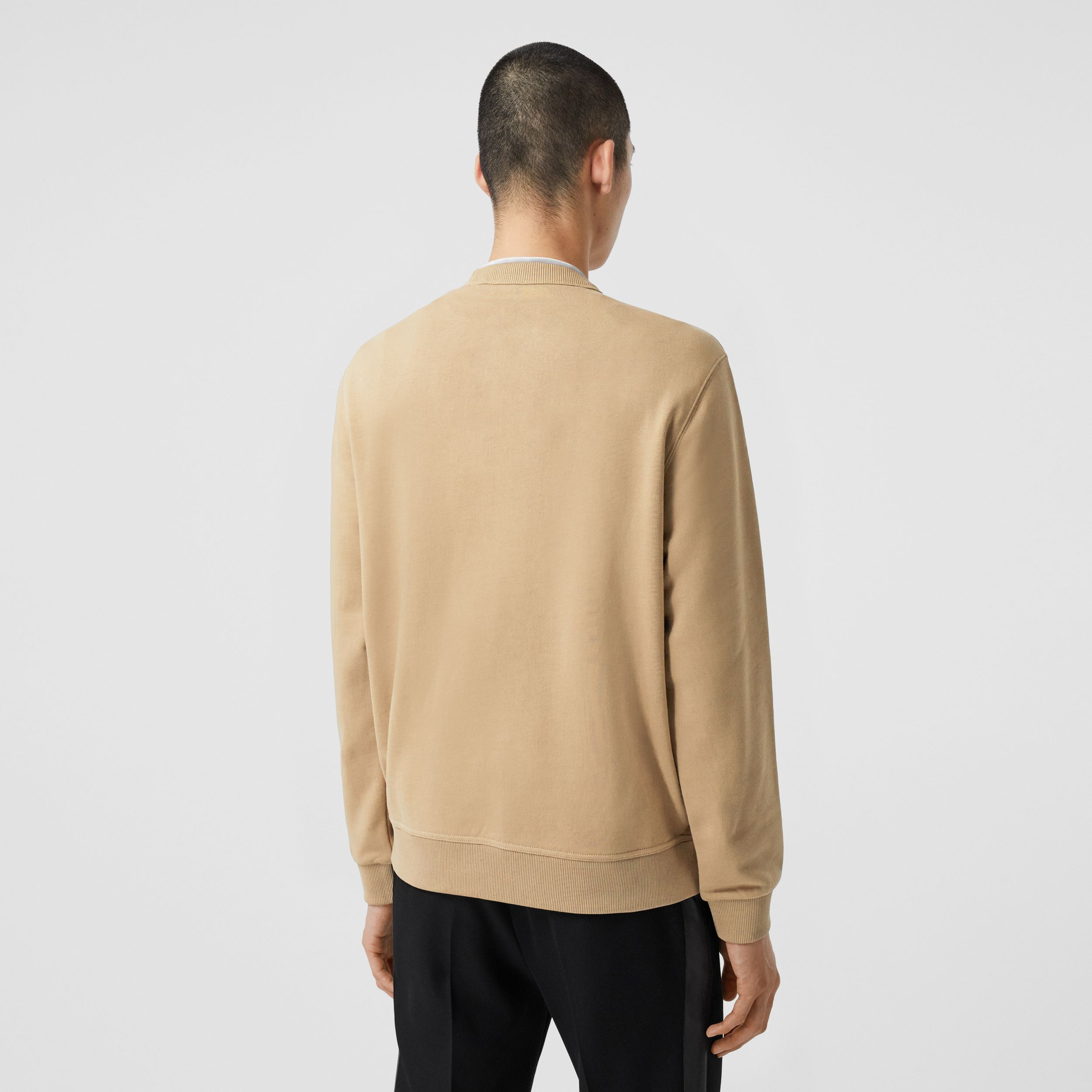 Monogram Motif Check Cashmere Panel Sweatshirt in Archive Beige - Men | Burberry - 3
