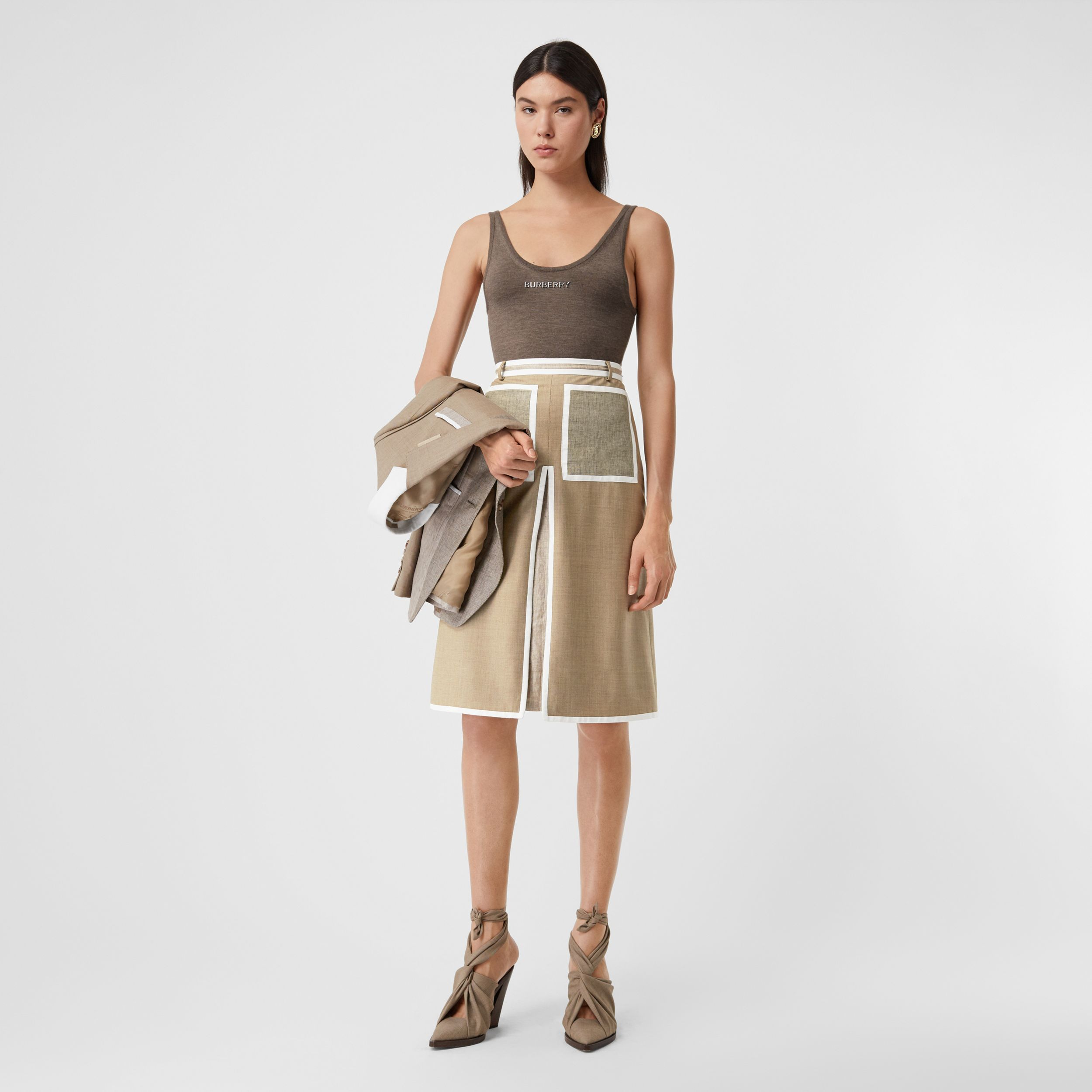 Box-pleat Detail Wool Cashmere A-line Skirt in Pecan Melange - Women | Burberry - 1