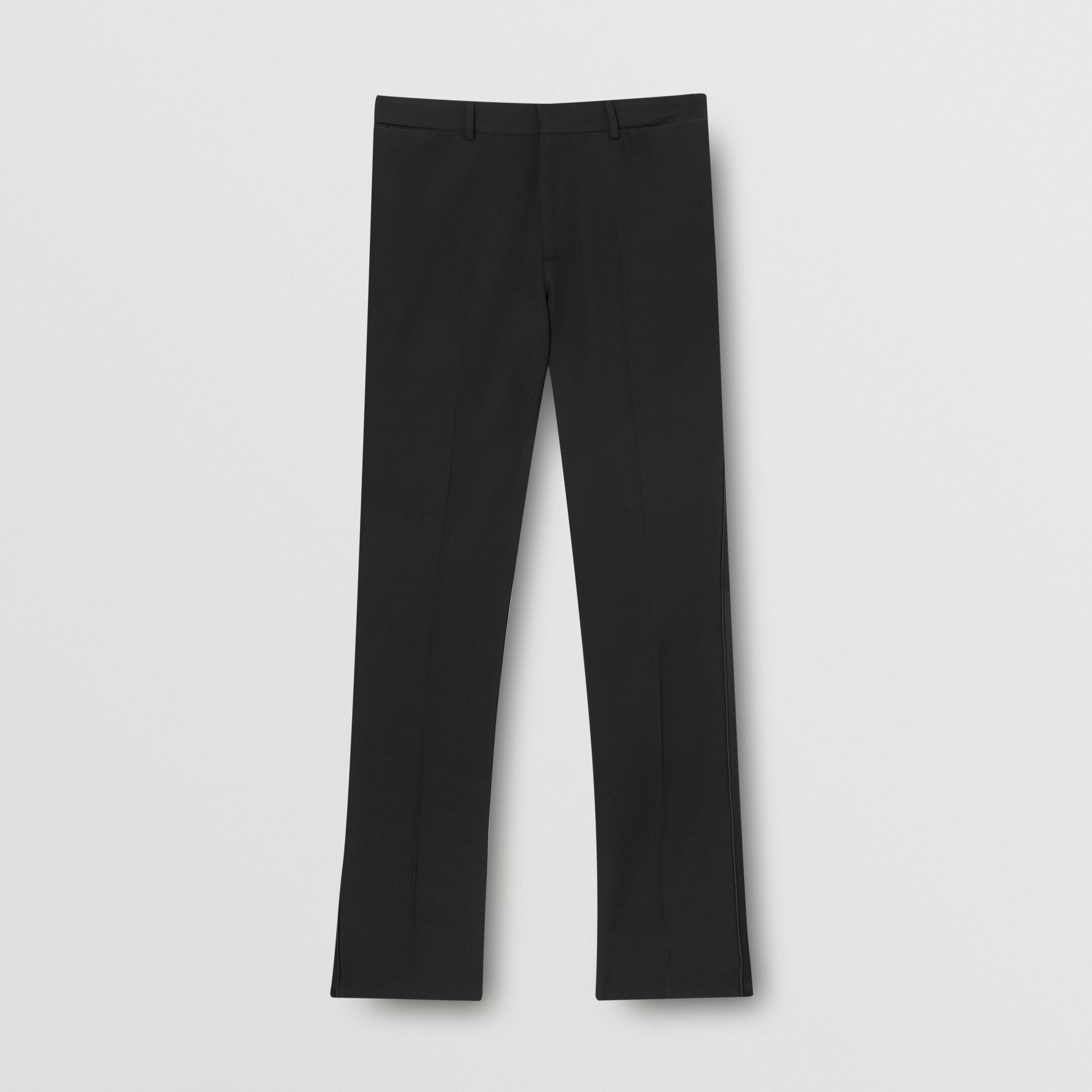 Slim Fit Silk Satin Detail Wool Tailored Trousers in Black | Burberry - 4