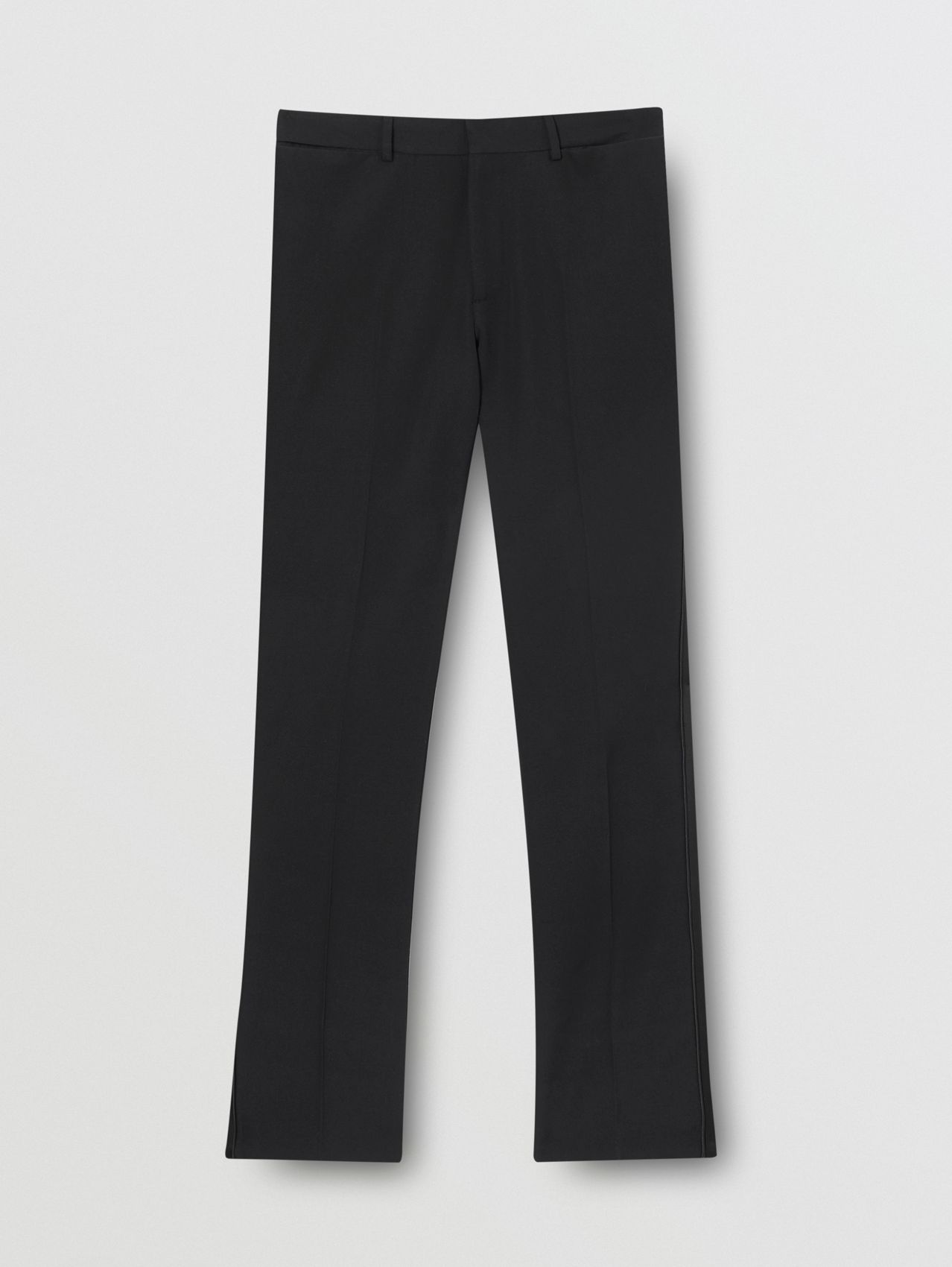 Slim Fit Silk Satin Detail Wool Tailored Trousers in Black