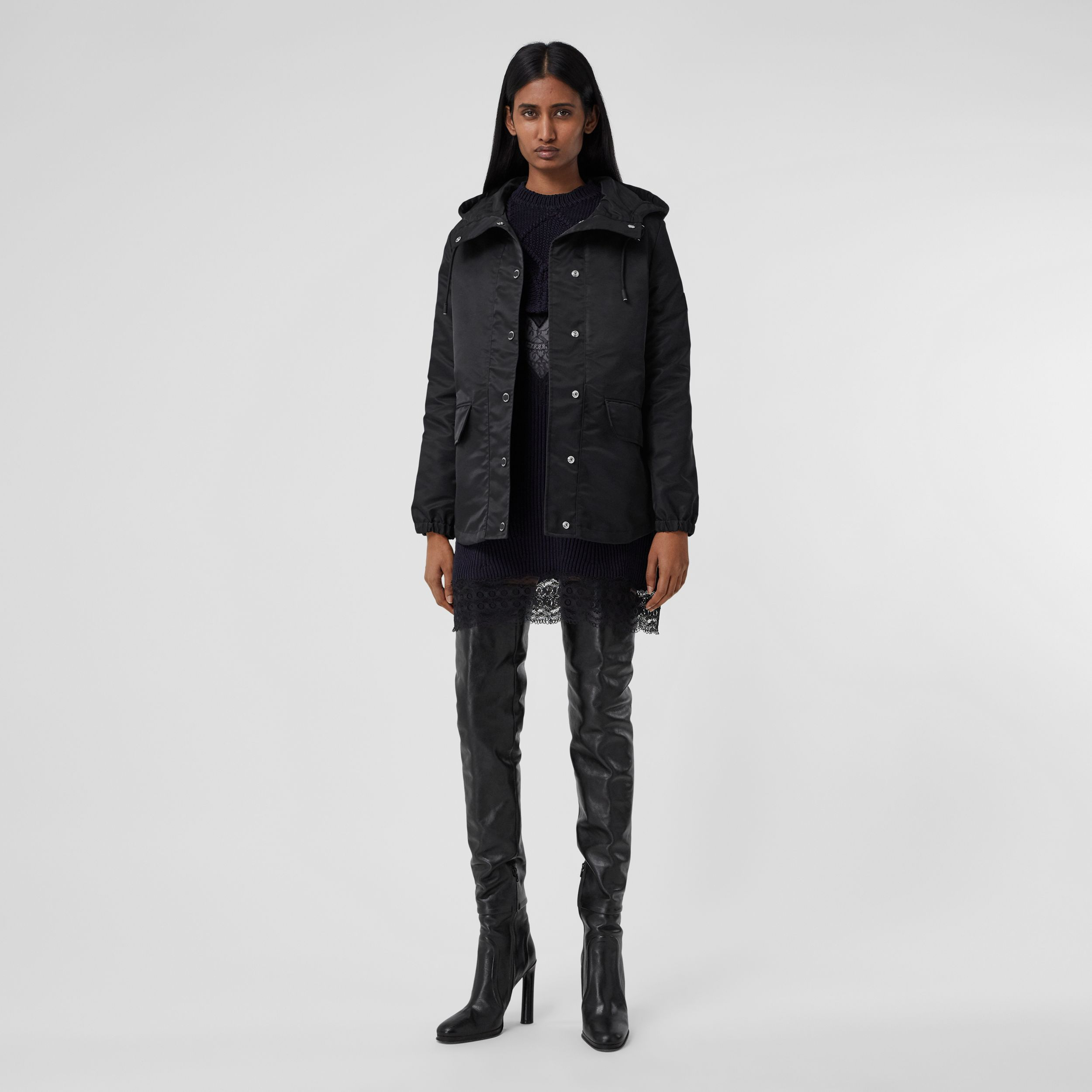 Horseferry Print Lightweight Hooded Parka in Black - Women | Burberry - 1