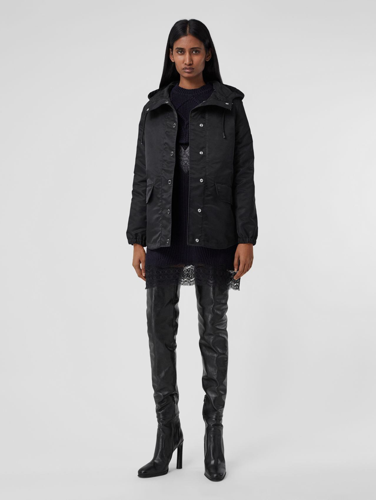 Horseferry Print Lightweight Hooded Parka in Black