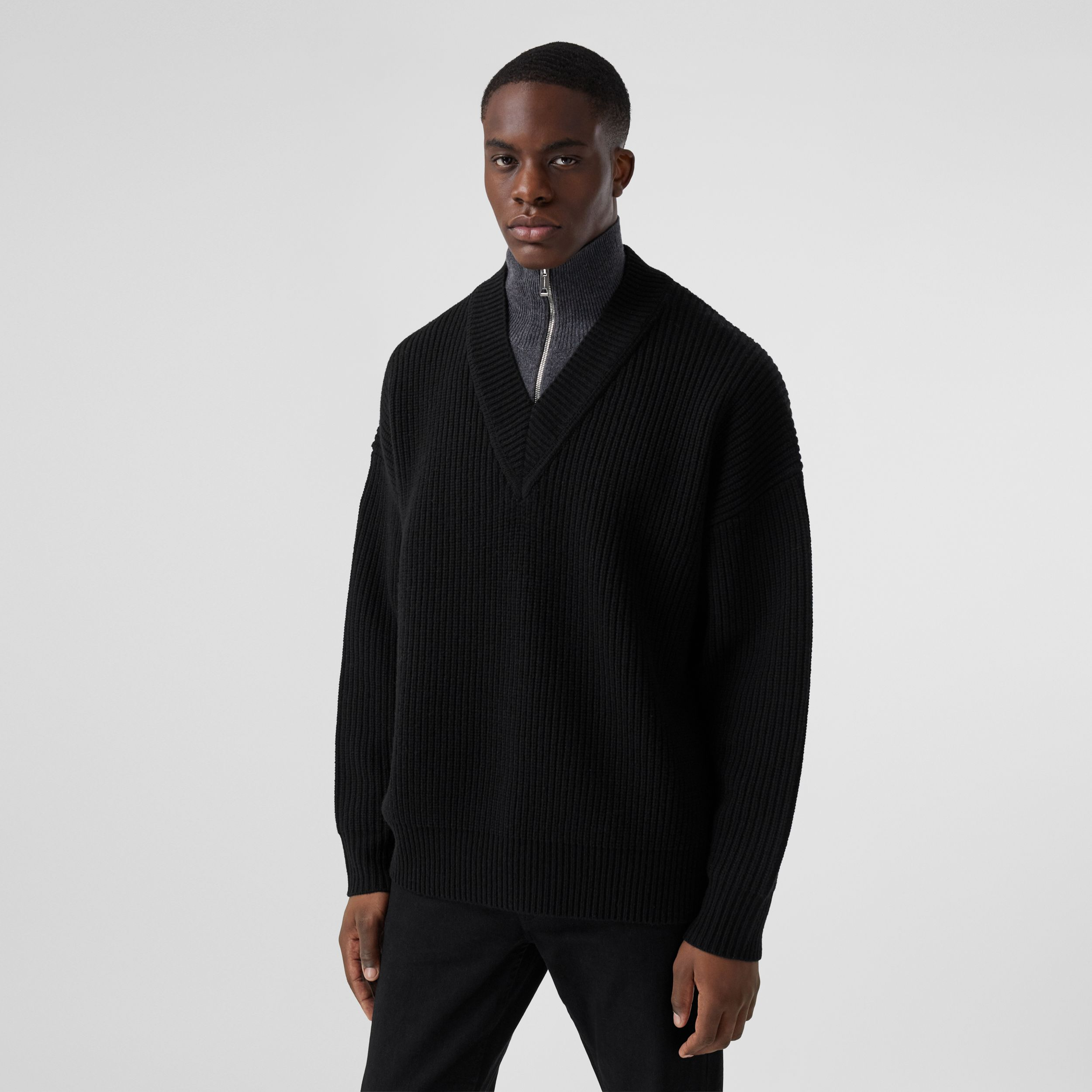 Funnel Neck Wool Cashmere Zip-front Sweater in Black - Men | Burberry - 1