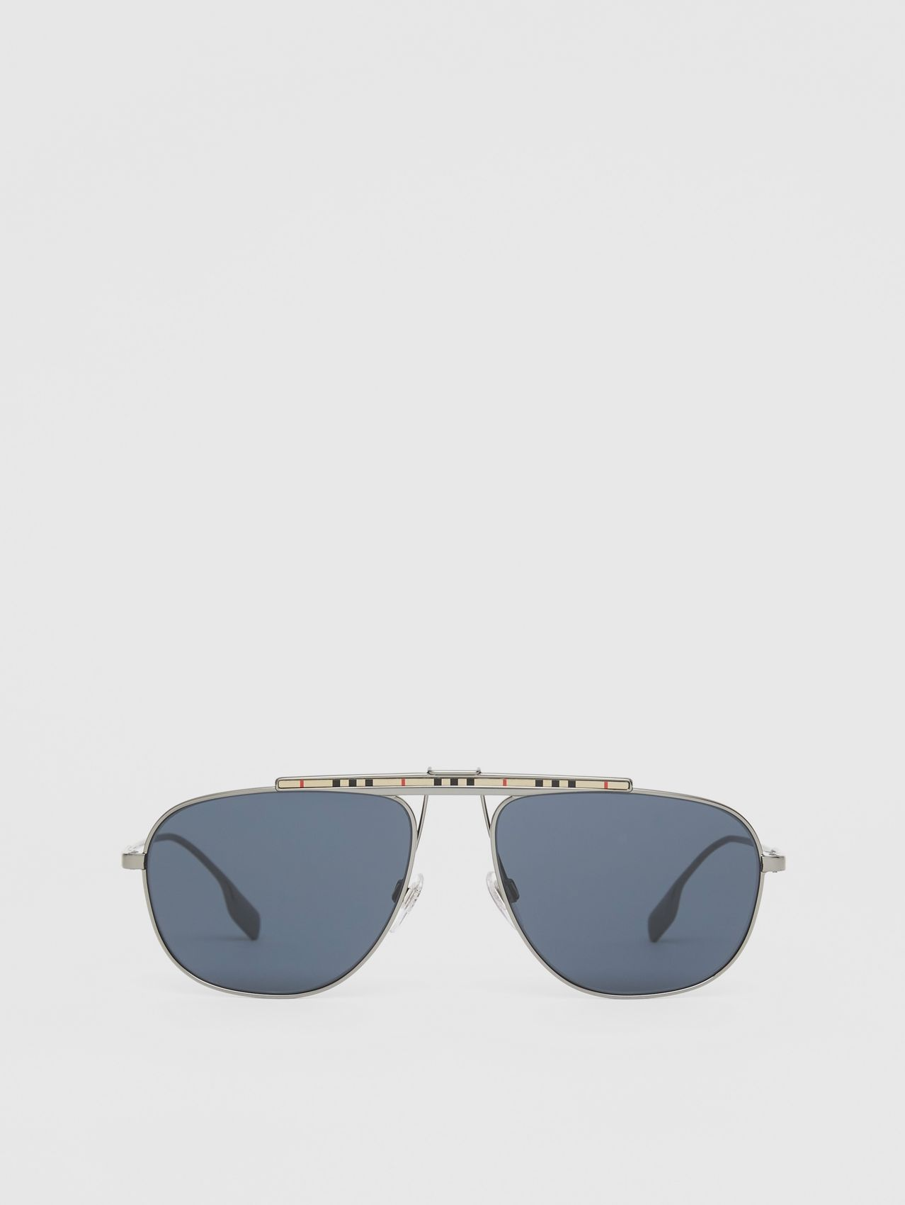 Icon Stripe Detail Pilot Sunglasses in Gunmetal Grey