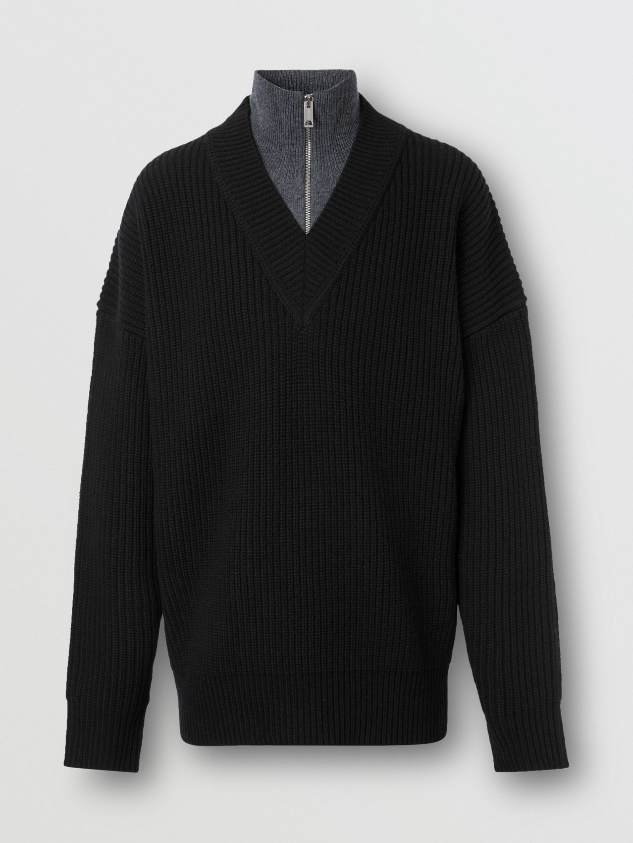 Funnel Neck Wool Cashmere Zip-front Sweater in Black