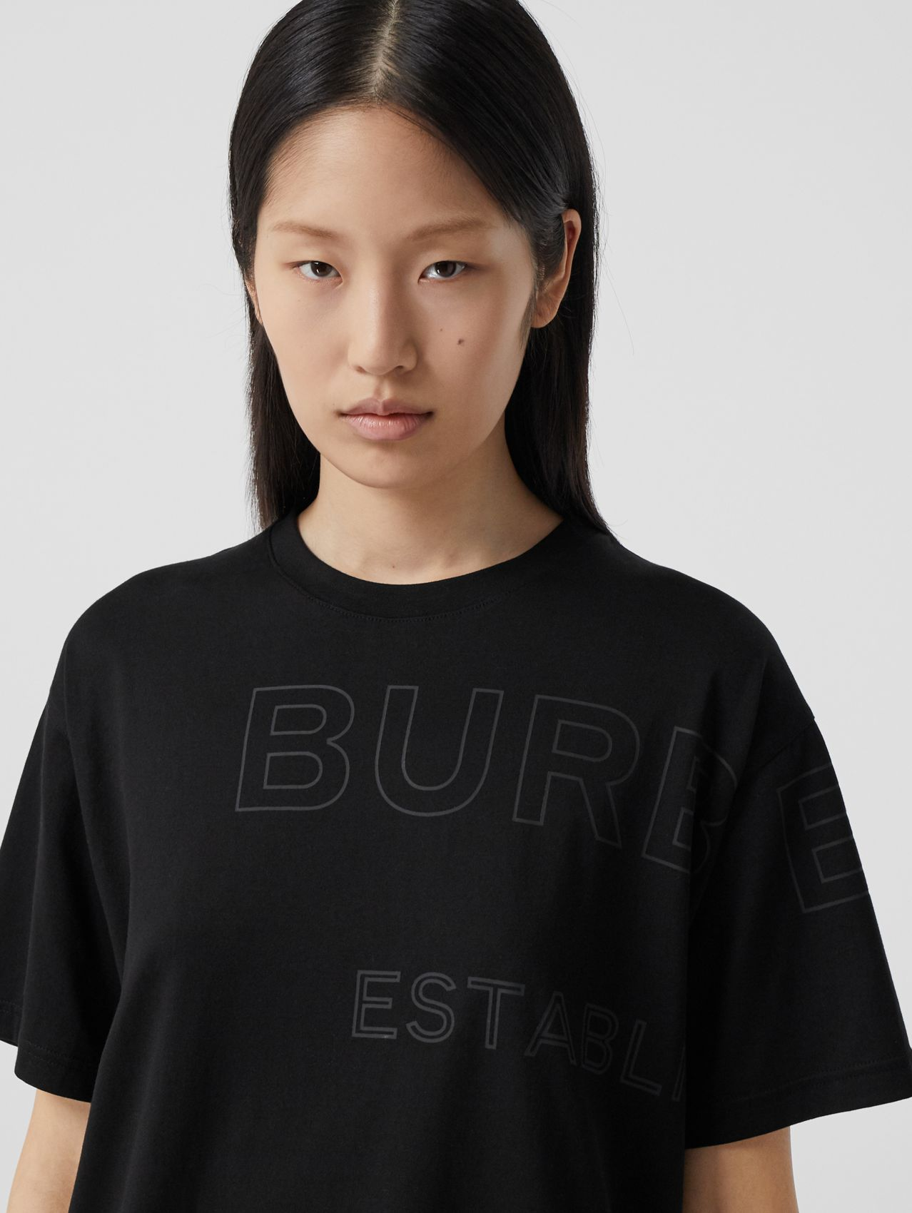 Horseferry Print Cotton Oversized T-shirt in Black