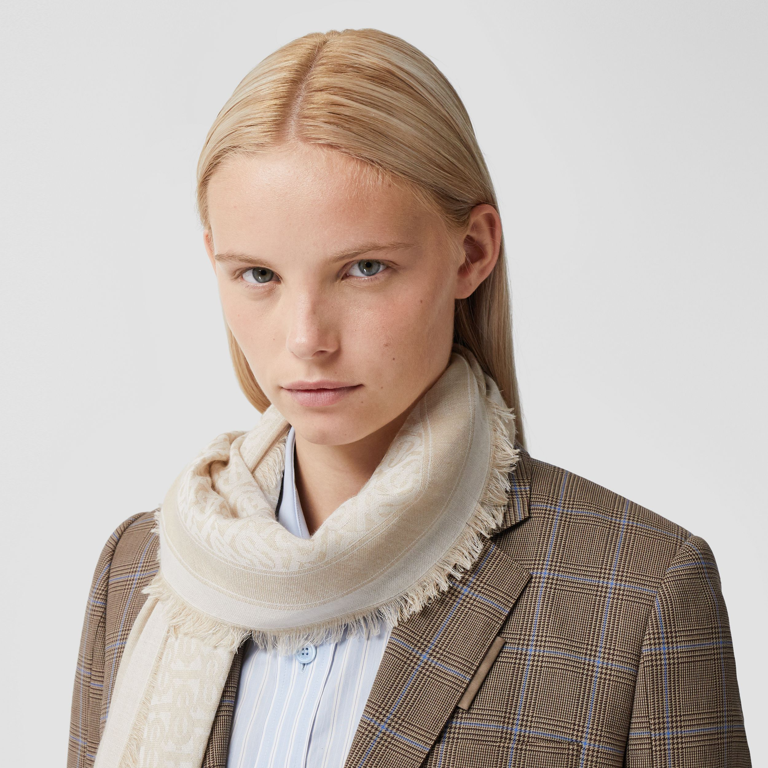 Monogram Wool Silk Jacquard Scarf in Pale Archive Beige | Burberry - 2