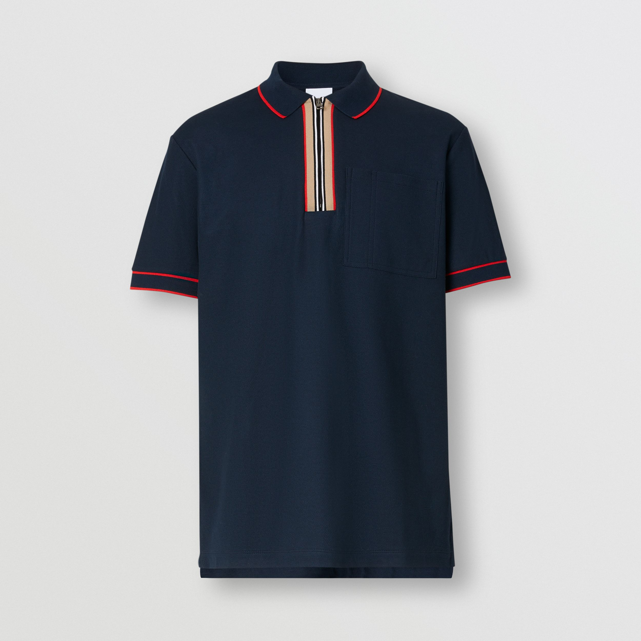 Icon Stripe Detail Cotton Zip-front Polo Shirt in Navy - Men | Burberry - 4