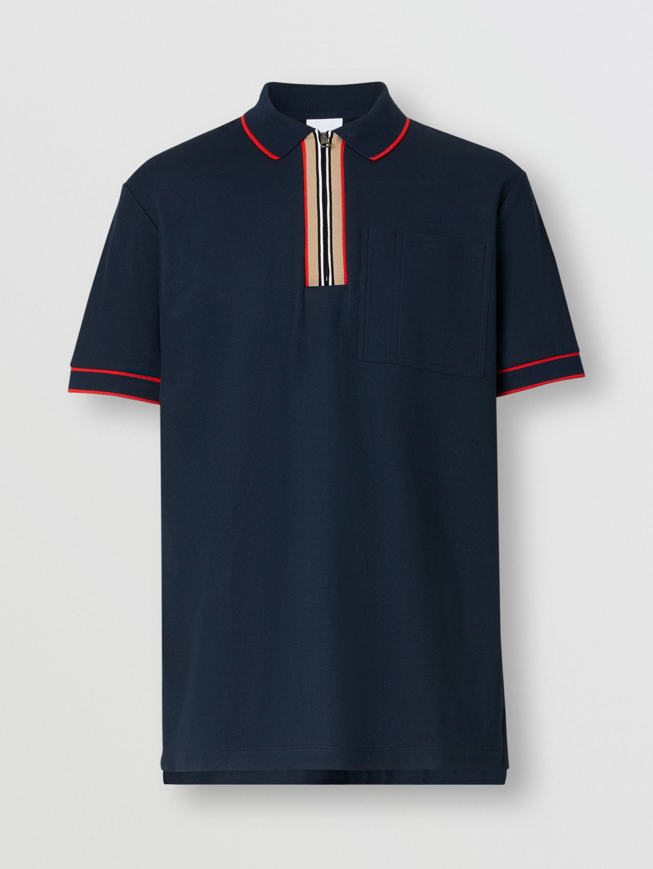 Icon Stripe Detail Cotton Zip-front Polo Shirt in Navy