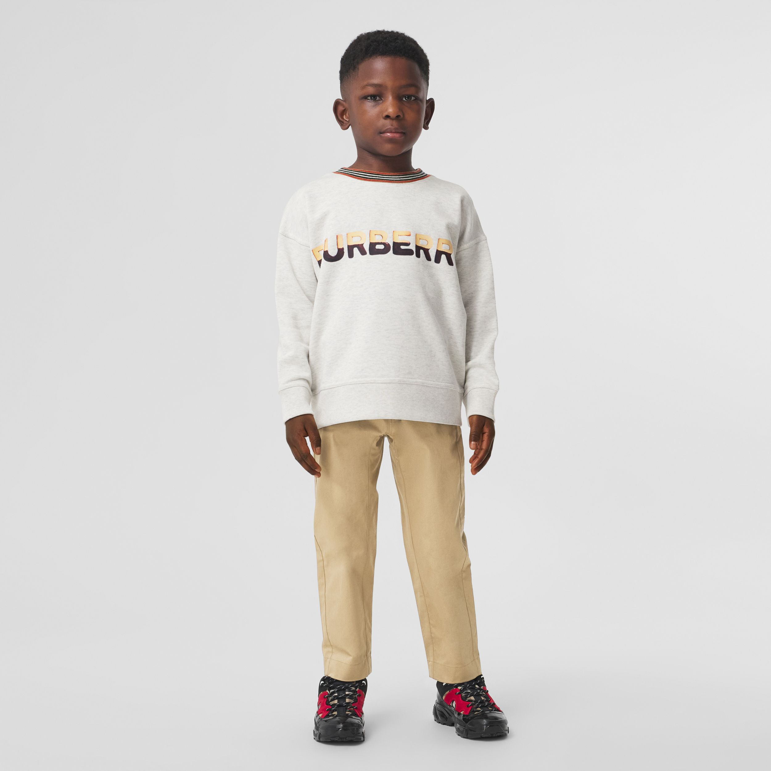 Confectionery Logo Print Cotton Sweatshirt in White Melange | Burberry - 3