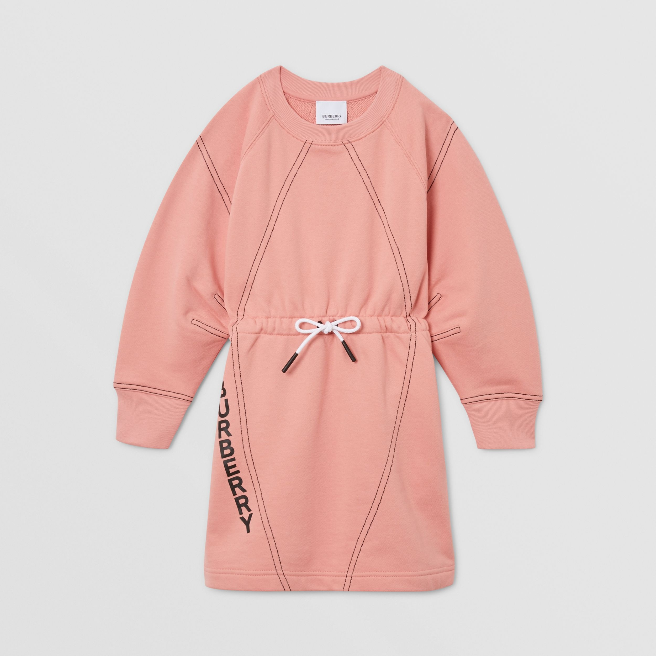 Logo Print Cotton Sweater Dress in Peach | Burberry - 1