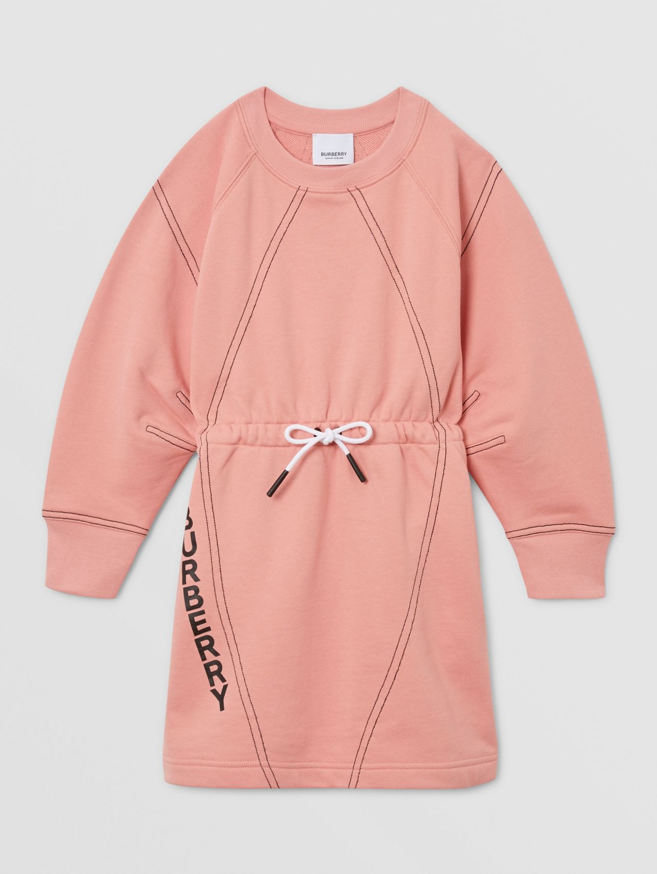Logo Print Cotton Sweater Dress in Peach
