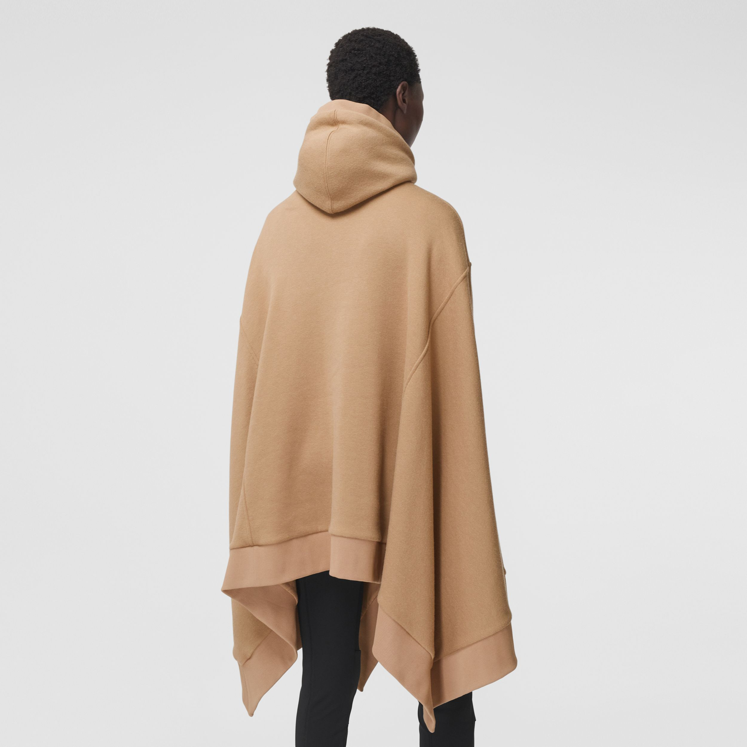Cut-out Sleeve Jersey Hooded Cape in Camel - Women | Burberry - 3